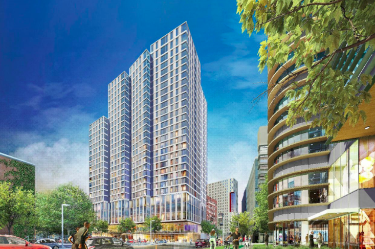 Rendering of a tall, boxy residential building.