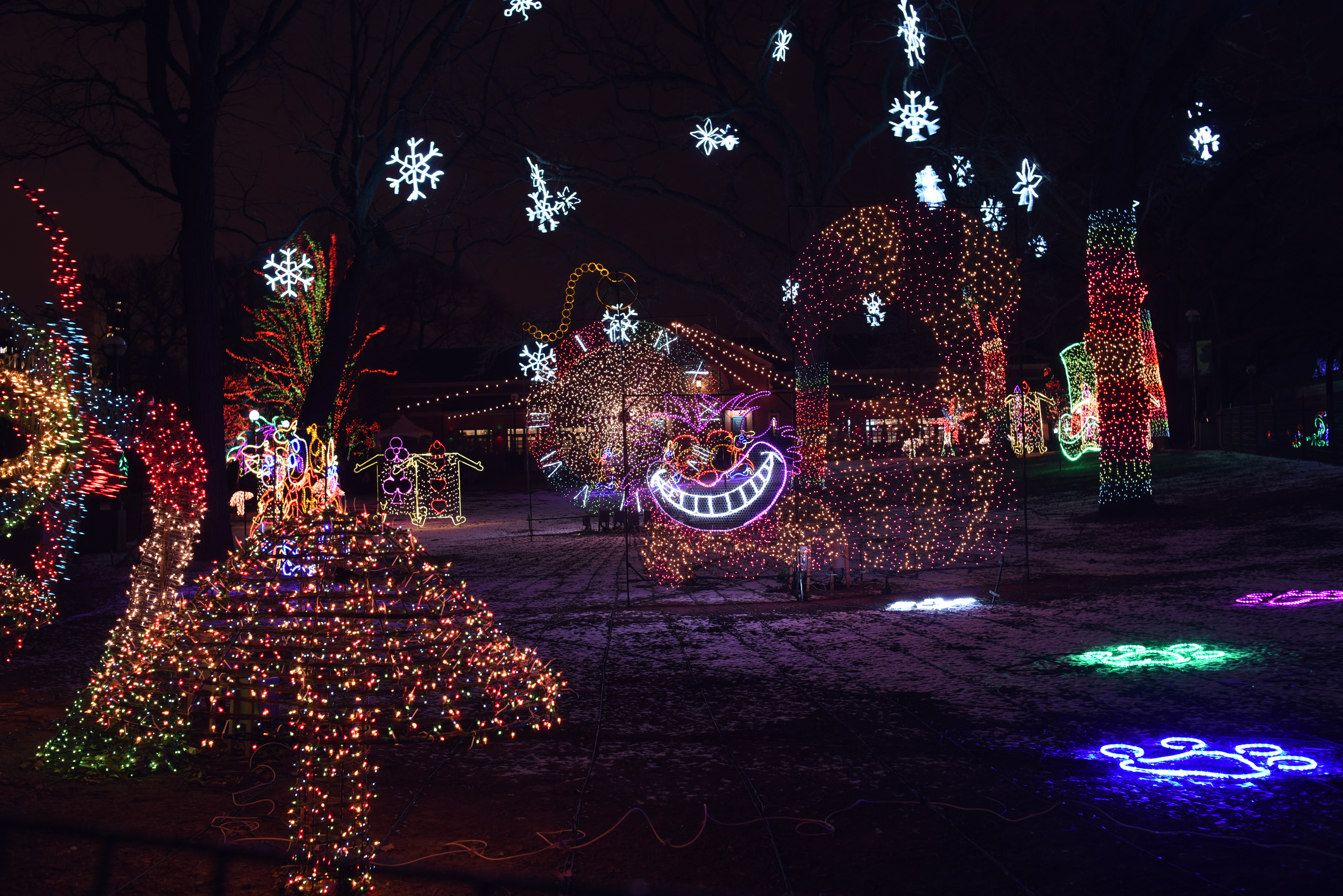 A magical holiday light display with snowflakes, animals, and light projections.