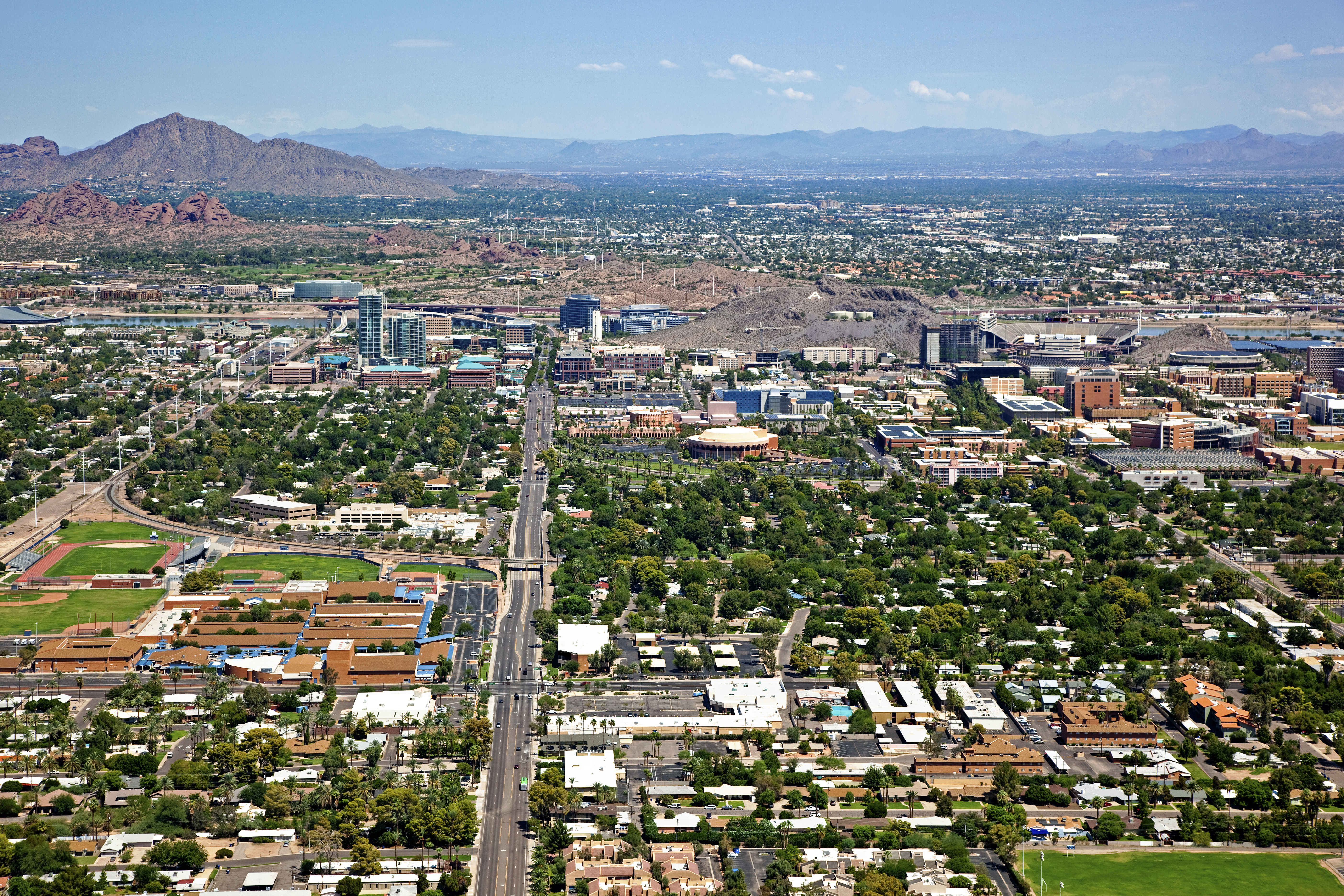 Desert city seen from above.