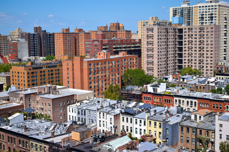 Aerial view of dense apartment buildings.