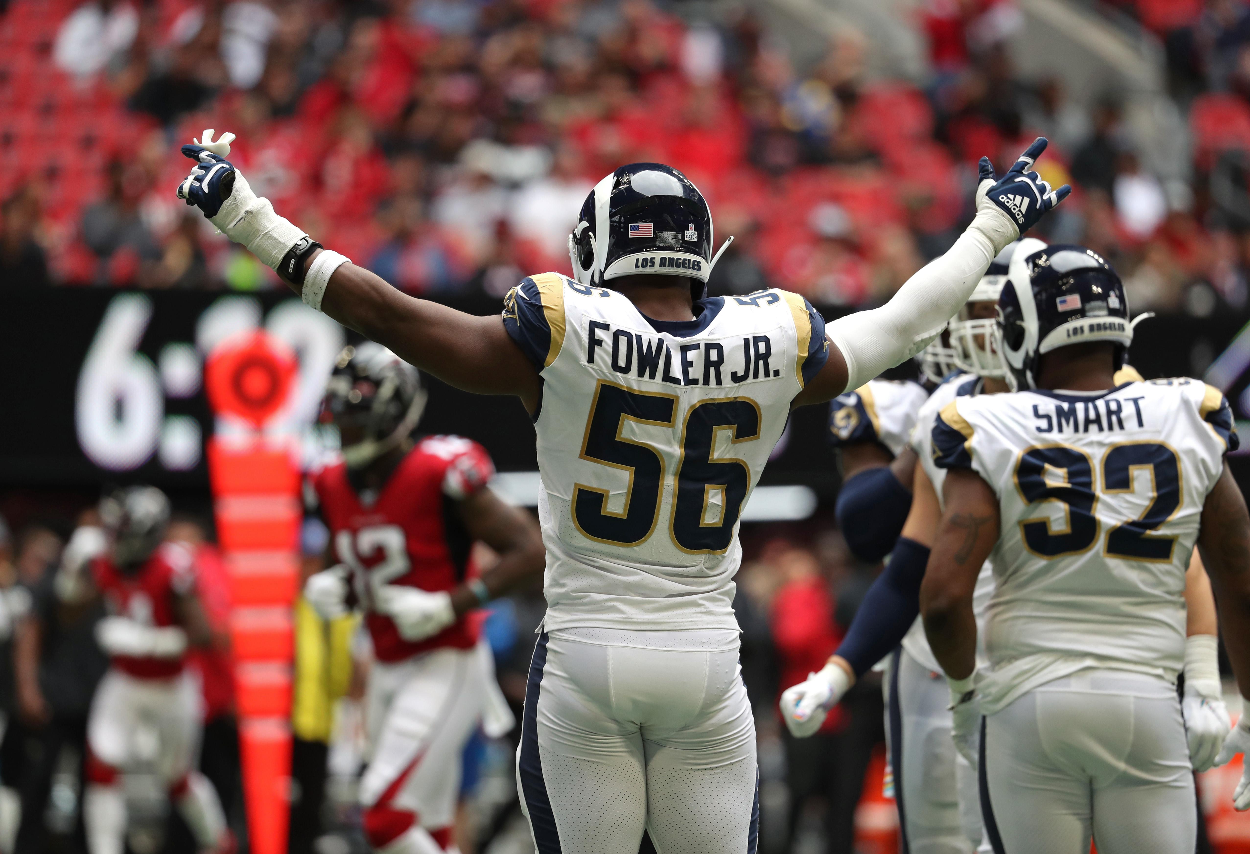 Los Angeles Rams EDGE Dante Fowler Jr. celebrates a sack of Atlanta Falcons QB Matt Ryan in Week 7, Oct. 20, 2019.