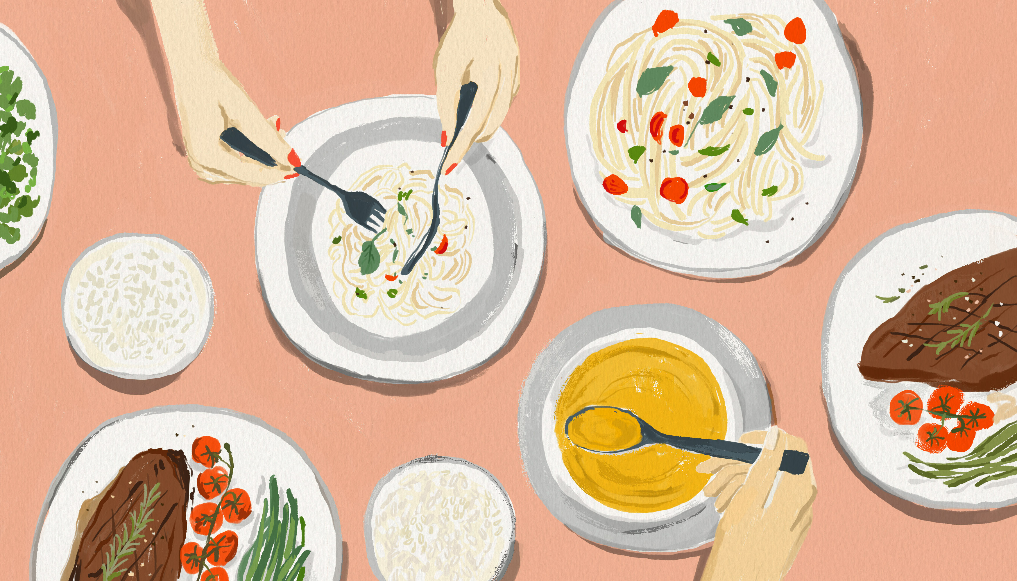 An overhead view of a dining table set with minimalist white plates and bowls with grey trim. A female's hand reaches in with a knife and fork to a dish filled with pasta. Another hand spoons soup. Illustration.