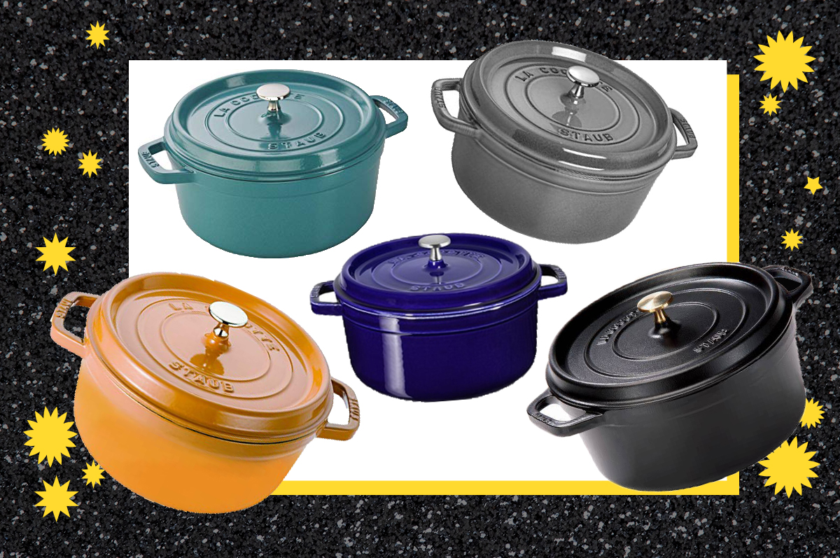 five Staub cocotte Dutch ovens floating on a white and black graphic background