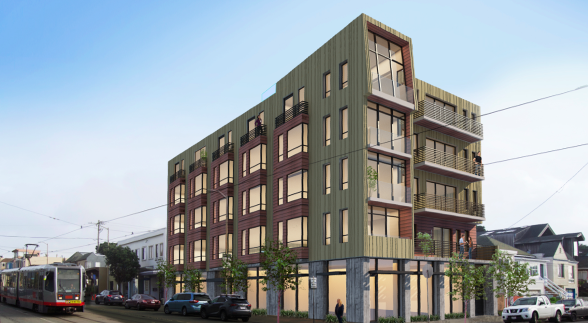 A rendering of a five-story building with a long profile and gray-green color scheme.