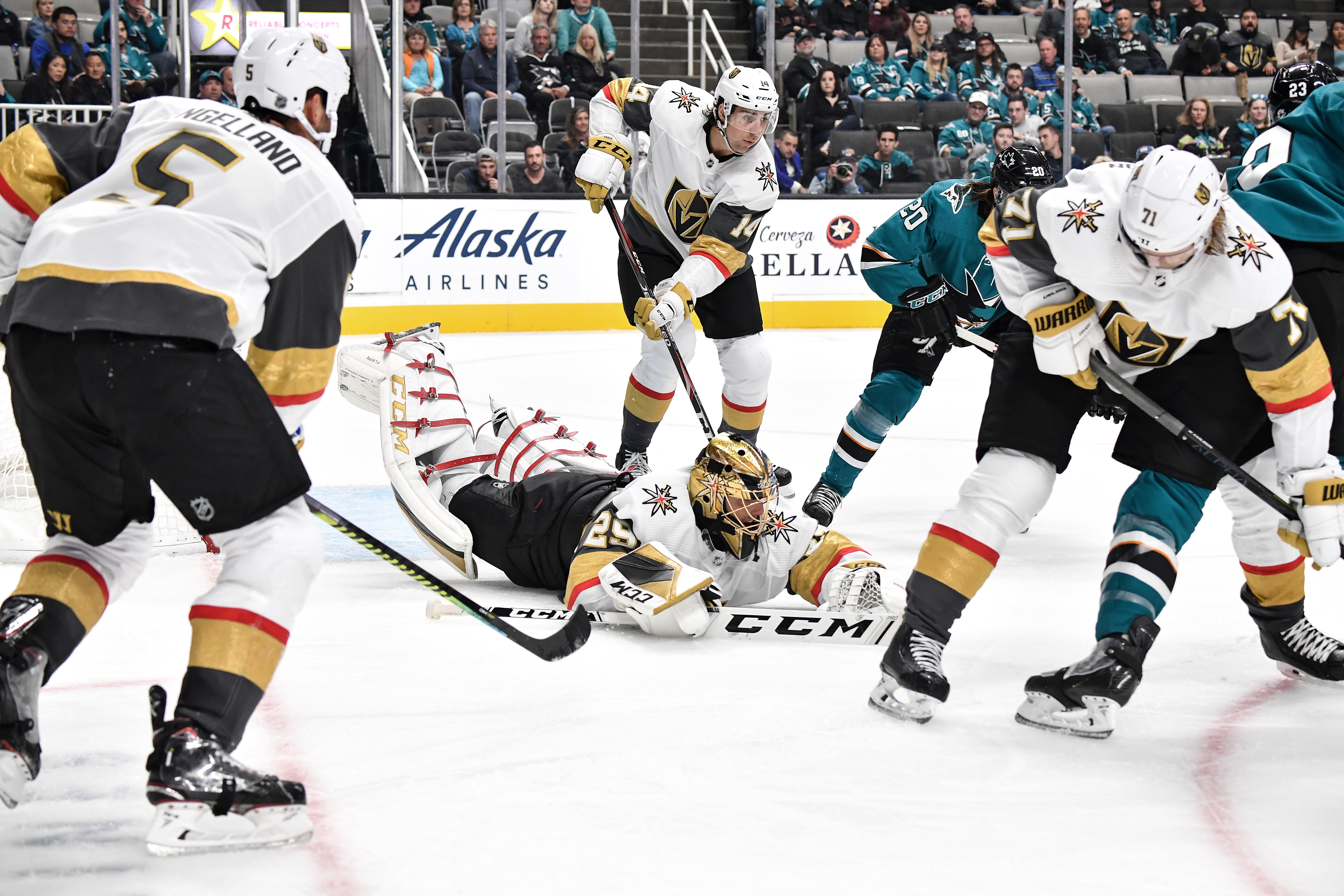 Marc-Andre Fleury #29 of the Vegas Golden Knights dives to make the save against the San Jose Sharks at SAP Center on October 4, 2019 in San Jose, California.