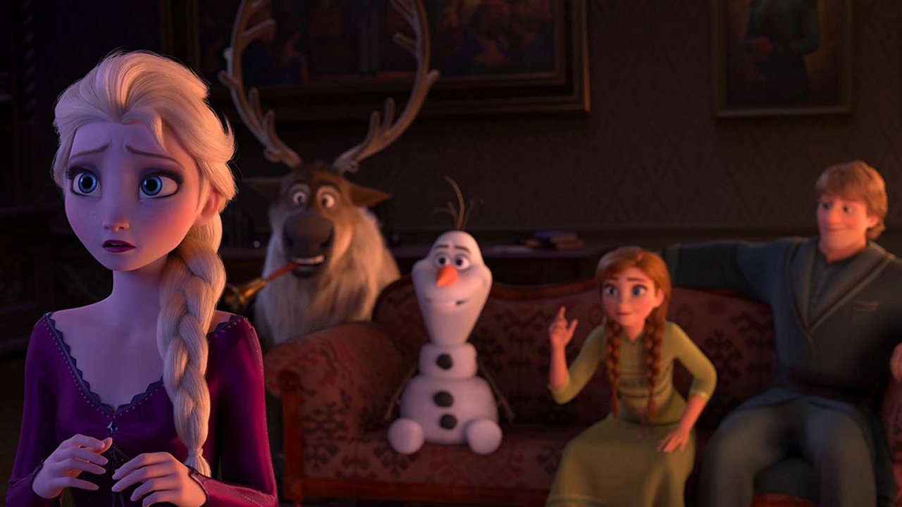 Elsa, Sven, Olaf, Anna, and Kristof in Frozen 2.