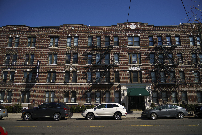 An apartment complex facade.