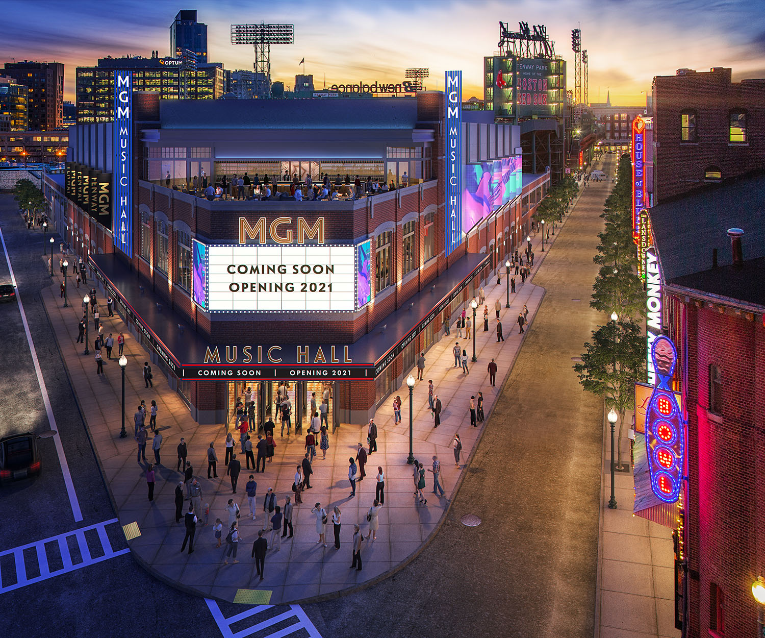 Rendering of the exterior of a triangular-shaped performance venue amid a busy streetscape.
