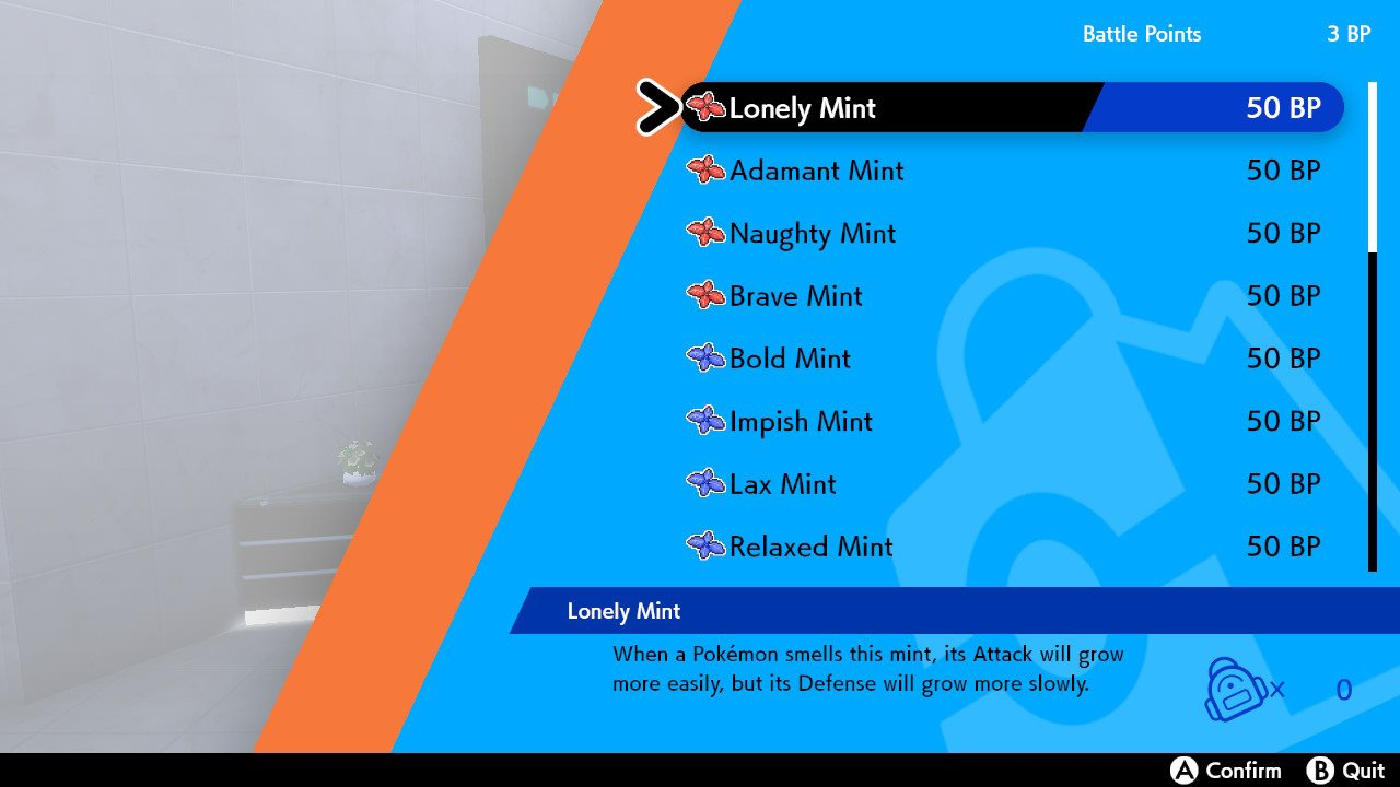 A shop screen in Pokémon Sword and Shield offers mints for 50 BP each