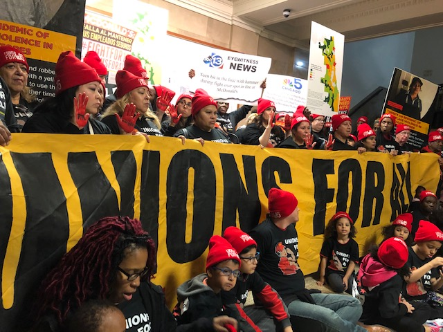 """McDonald's employees gather at City Hall to complain about an """"epidemic of workplace violence."""""""