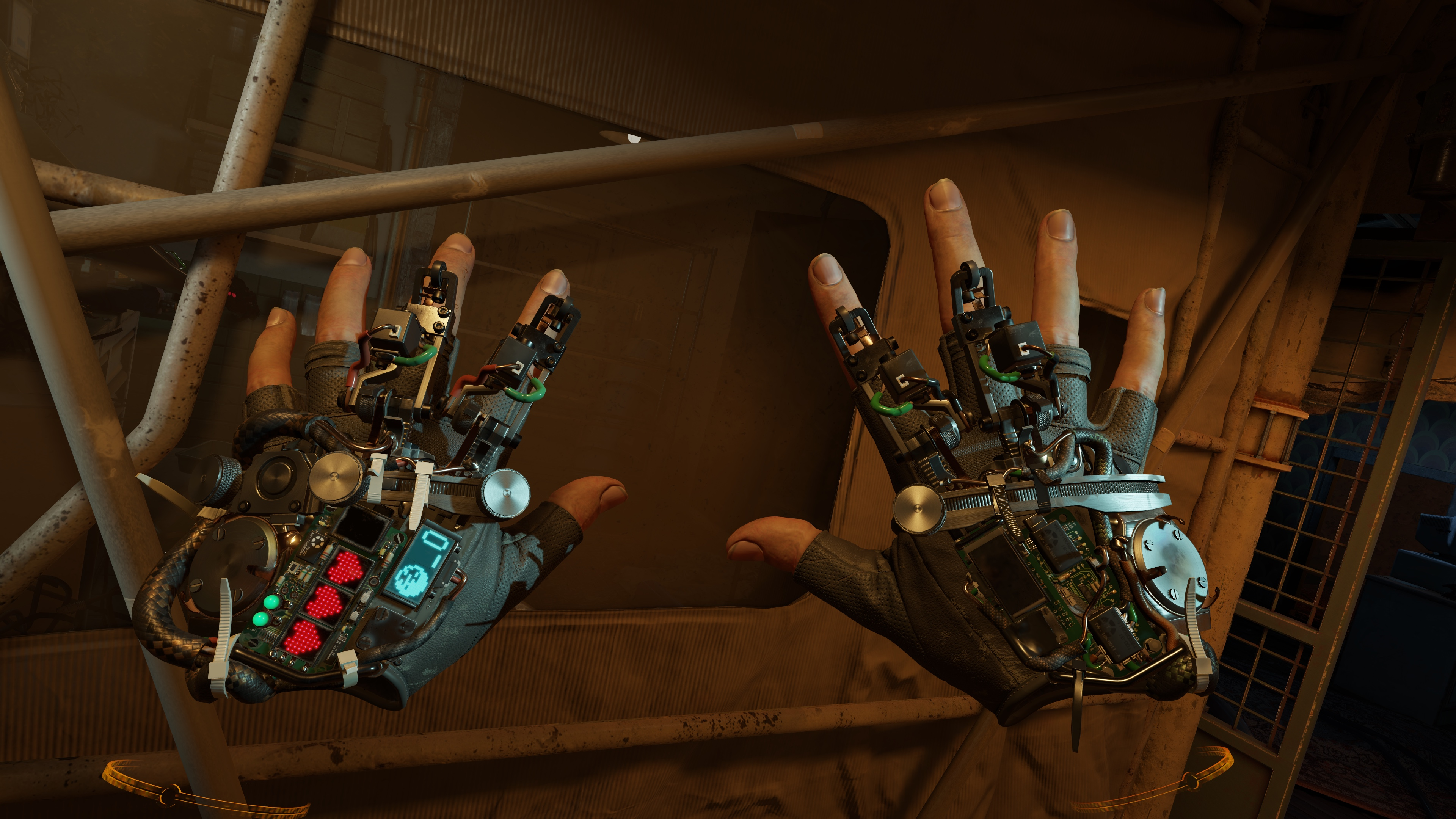 A first-person view of hands wearing Gravity Gloves in a screenshot from Half-Life: Alyx.
