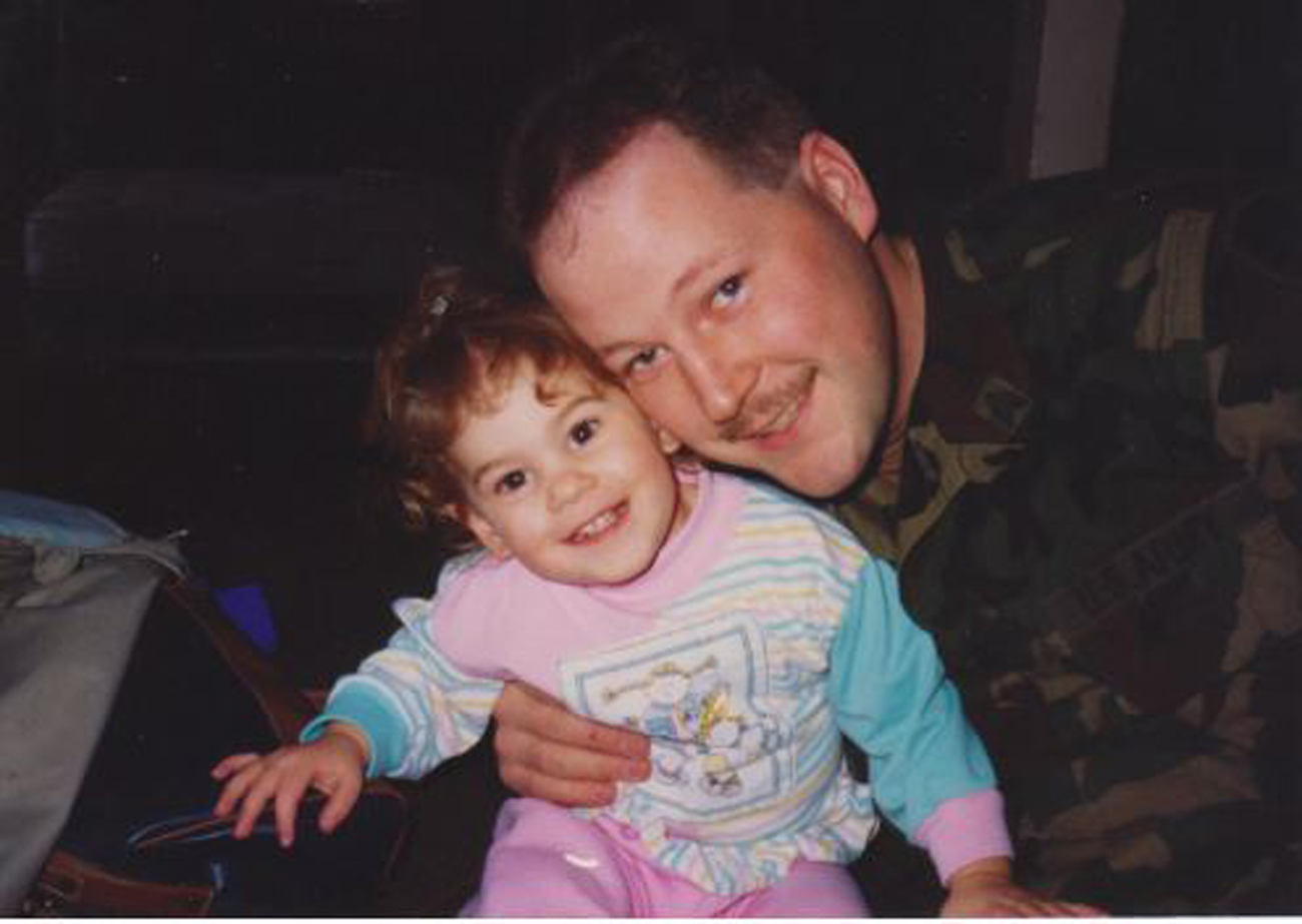 Bruce Coxworth and his daughter Kelli in the early 1990s. Coxworth served 22 years as a military police officer and intended to give his GI Bill college benefits to his children.