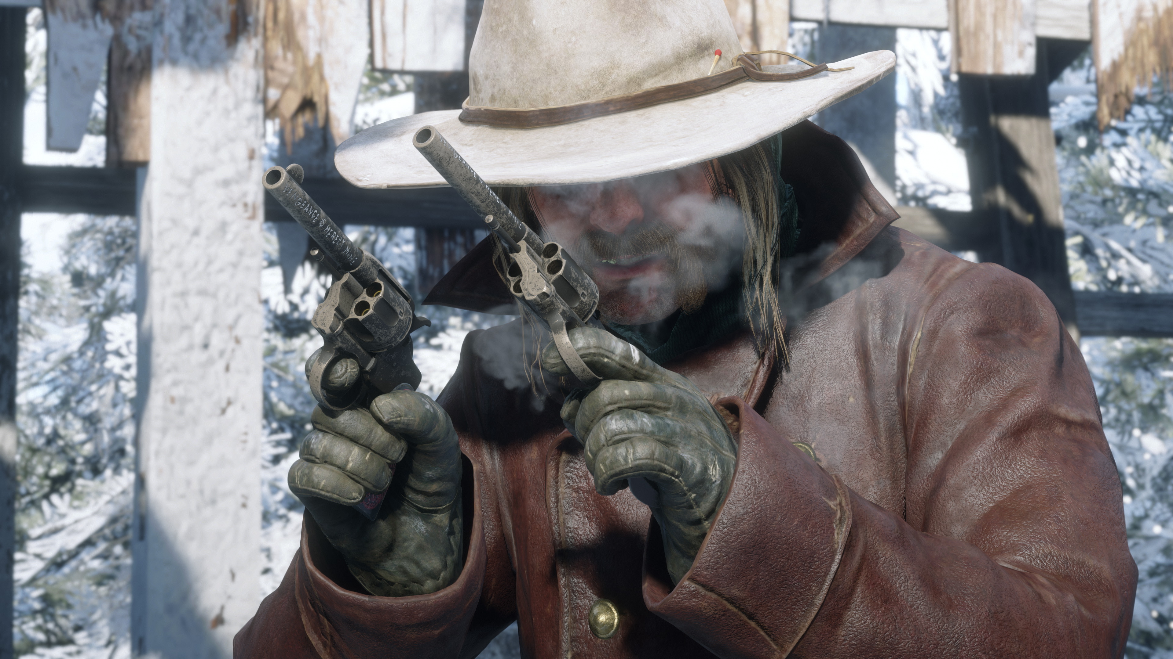 a mustachioed man in a cowboy hat, Micah Bell, dual-wields revolvers in the snow in Red Dead Redemption 2