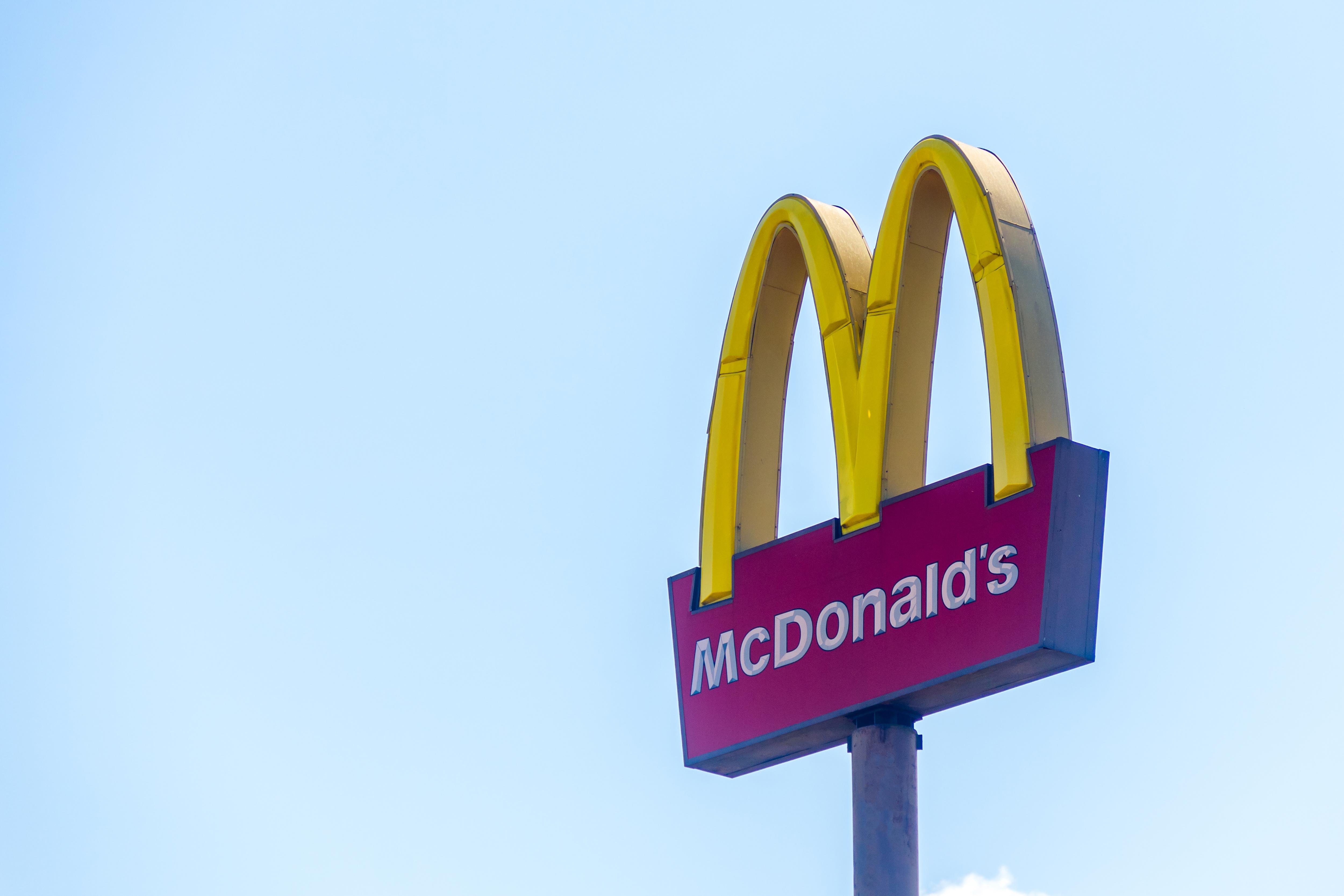 Fast food restaurant chain McDonald's logo seen in Pedro...