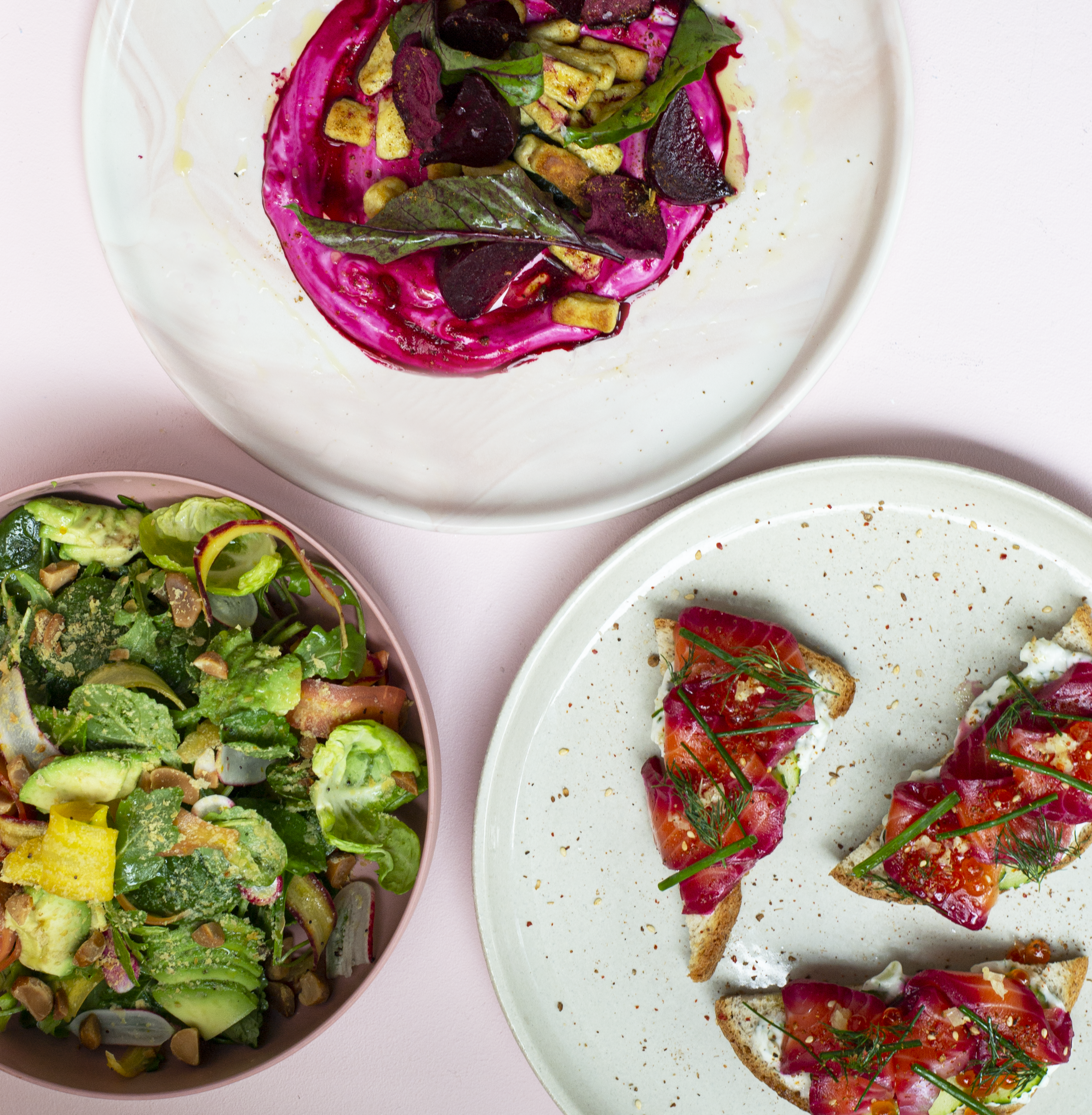 Toasts and salads from the forthcoming Satisfy