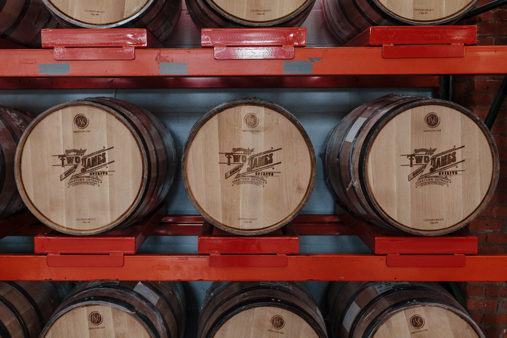 Barrels burned with the Two James label in the Corktown taproom.