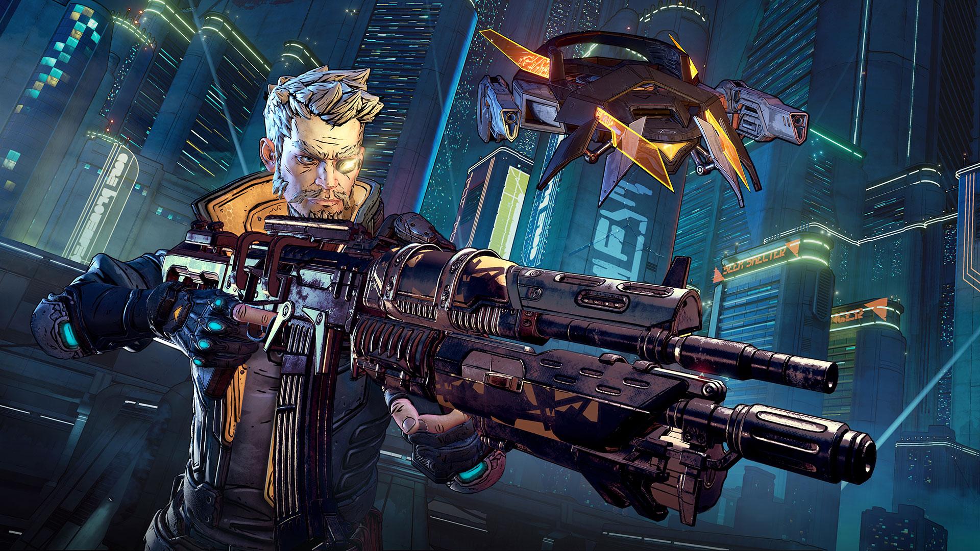 Showing off a large gun in Borderlands 3