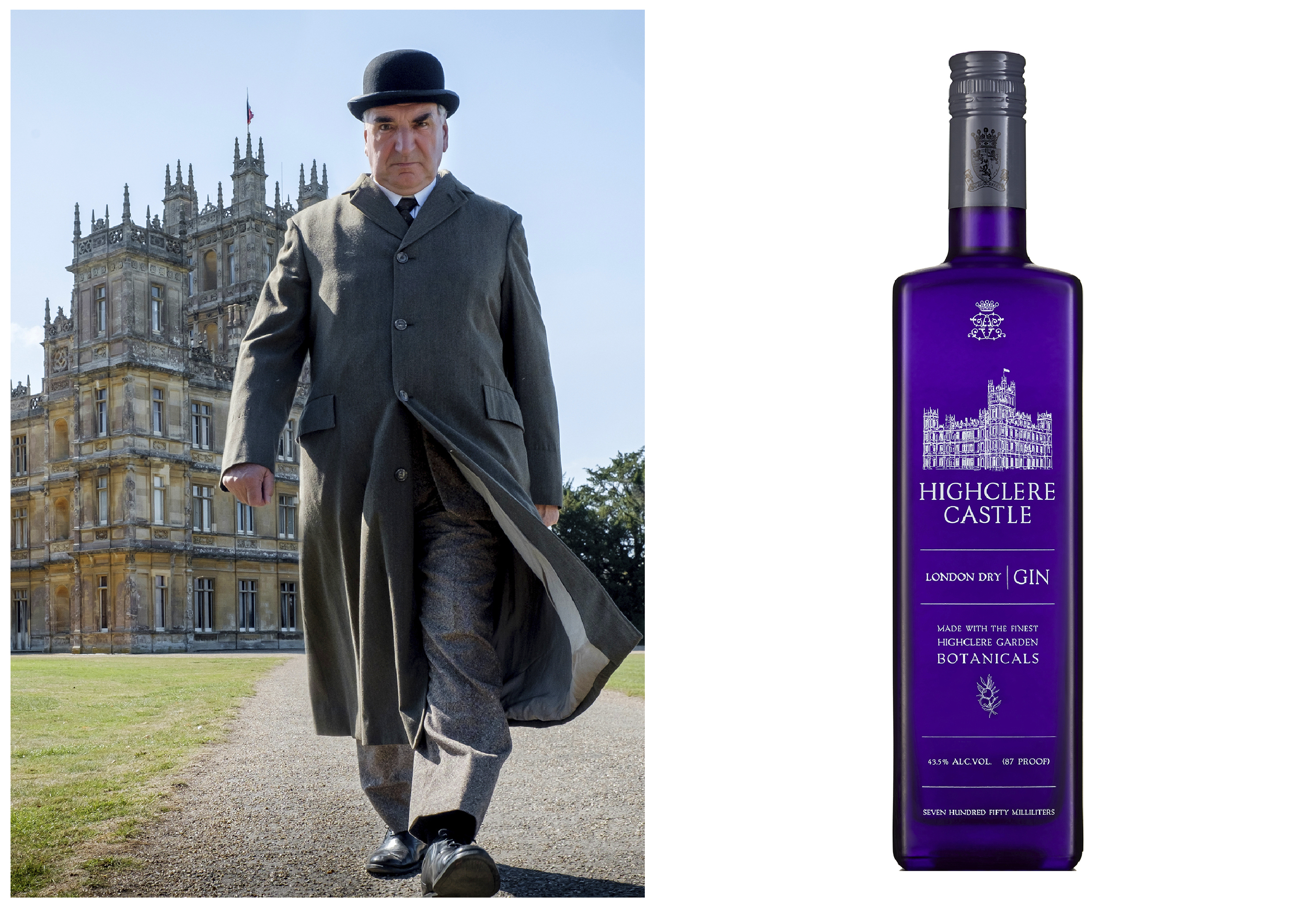 "Jim Carter portraying Mr. Carson walking away from Highclere Castle in a scene from the film ""Downtown Abbey,"" and a bottle of Highclere Castle Gin. It's inspired by botanicals from the estate's herb gardens originally planted in the 9th century."