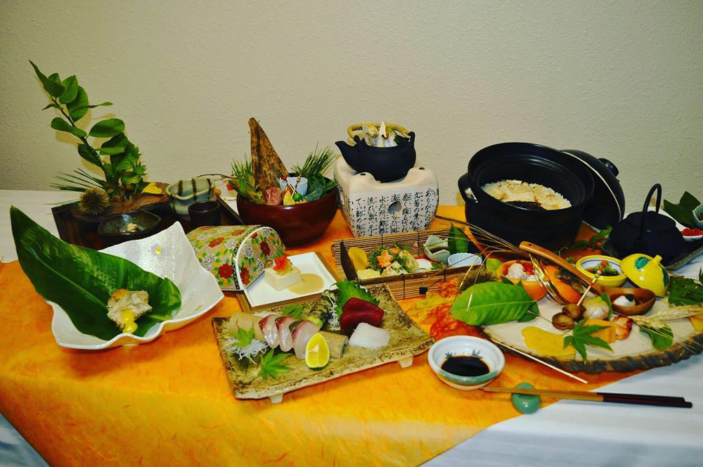 A sample, multi dish, four course meal served by chef Kaoru Azeuchi at Kaiseki Yuzu.