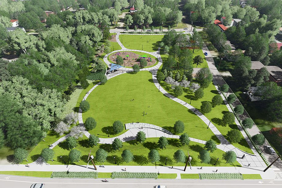 A rendering of a large green park with playgrounds and walkways.