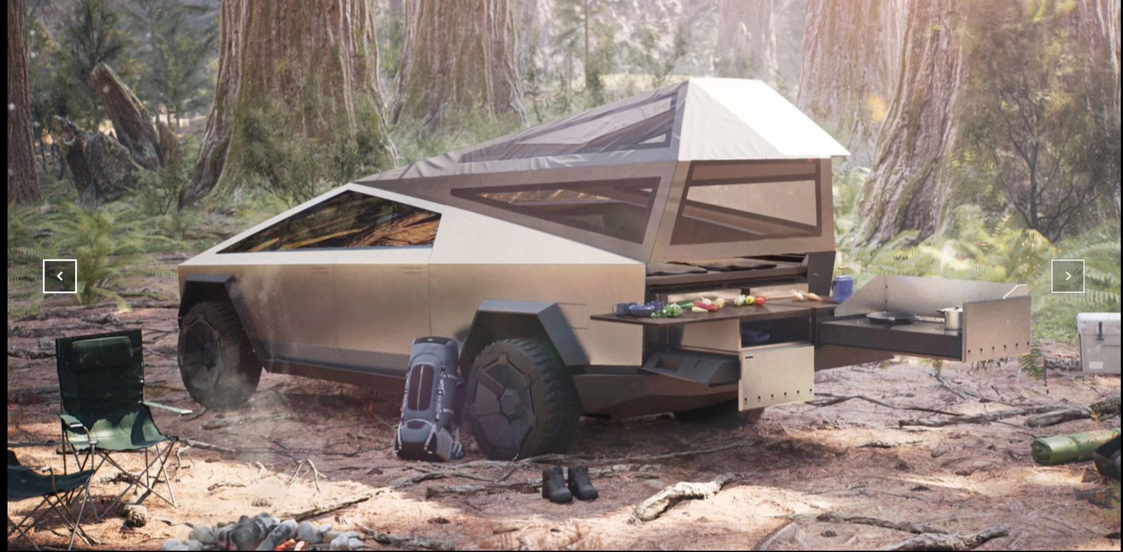 A rear view of a futuristic truck in a light beige with a pop-up camping tent off the back and a slide-out kitchen.