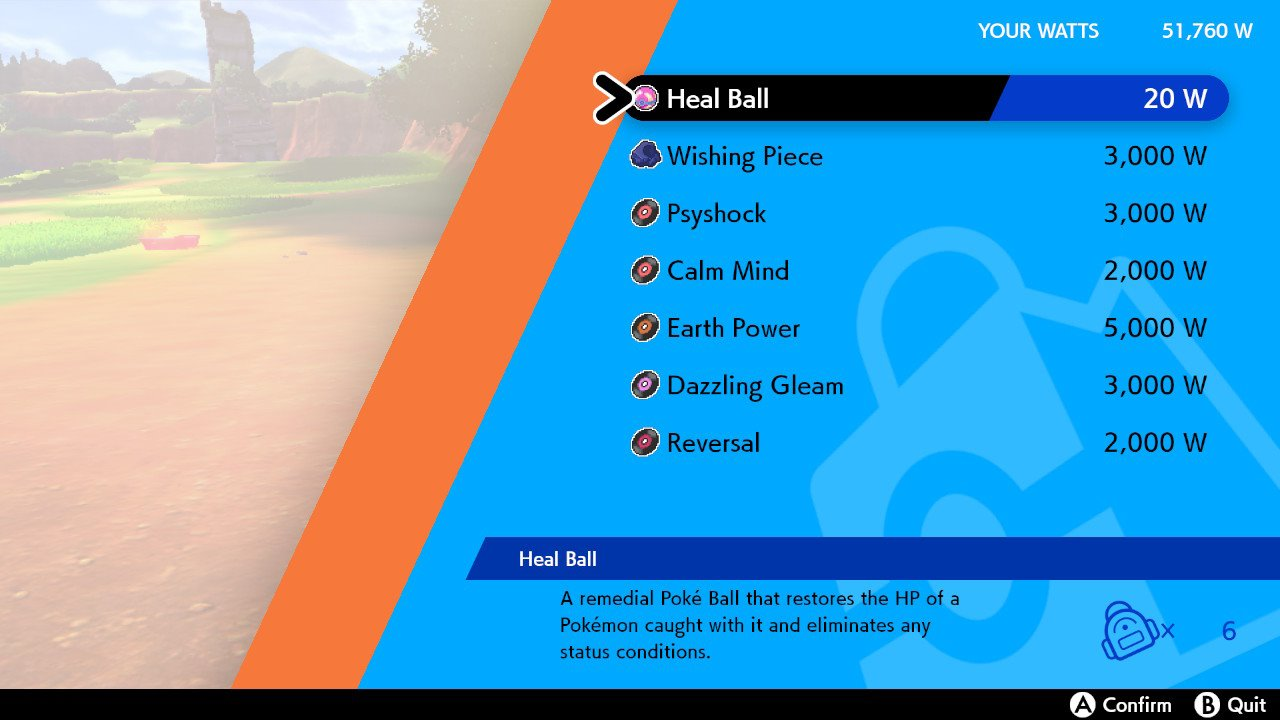 A menu in Pokémon Sword and Shield prompts the player to buy a handful of TRs in exchange for Watts