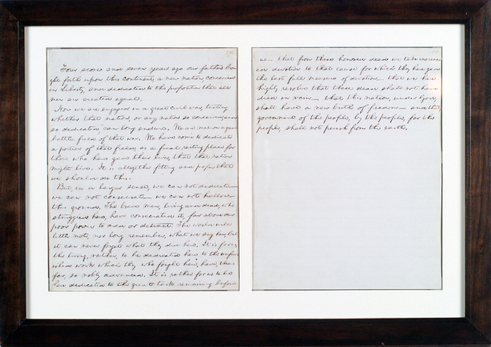 This handwritten copy of the Gettysburg address, shown on loan to the Chicago History Museum, is one of only five known to exist and is appraised at $20 million.