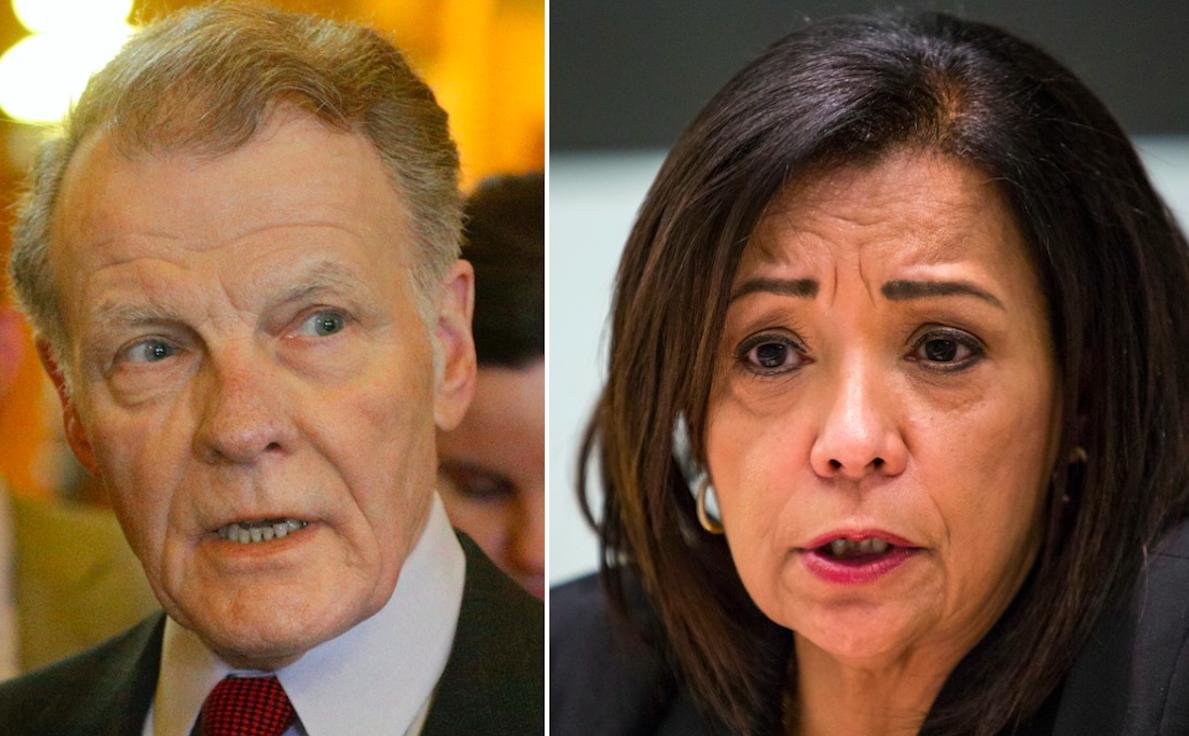 Illinois House Speaker Michael Madigan (left) and state Sen. Iris Martinez, D-Chicago.