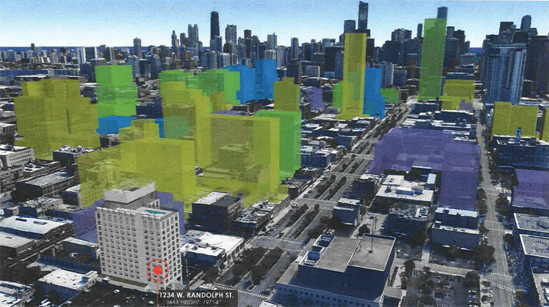 A rendering looking northeast from the proposed 1234 W. Randolph St. project (with red dot in the foreground). Buildings in yellow are proposed, green are approved and blue are under construction.