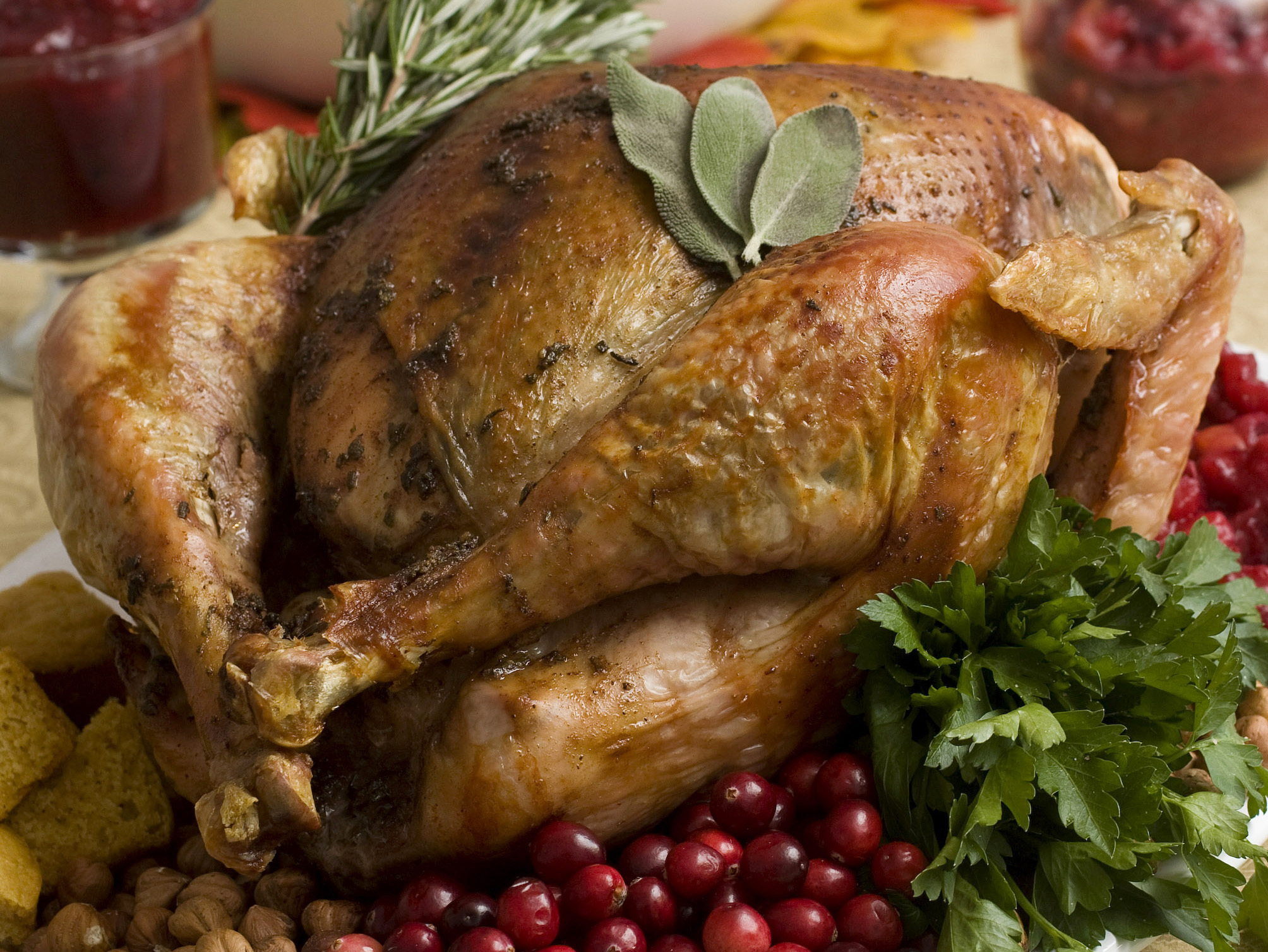 A cooked turkey isn't safe until all the parts, even the ones deepest inside, have reached 165 degrees.