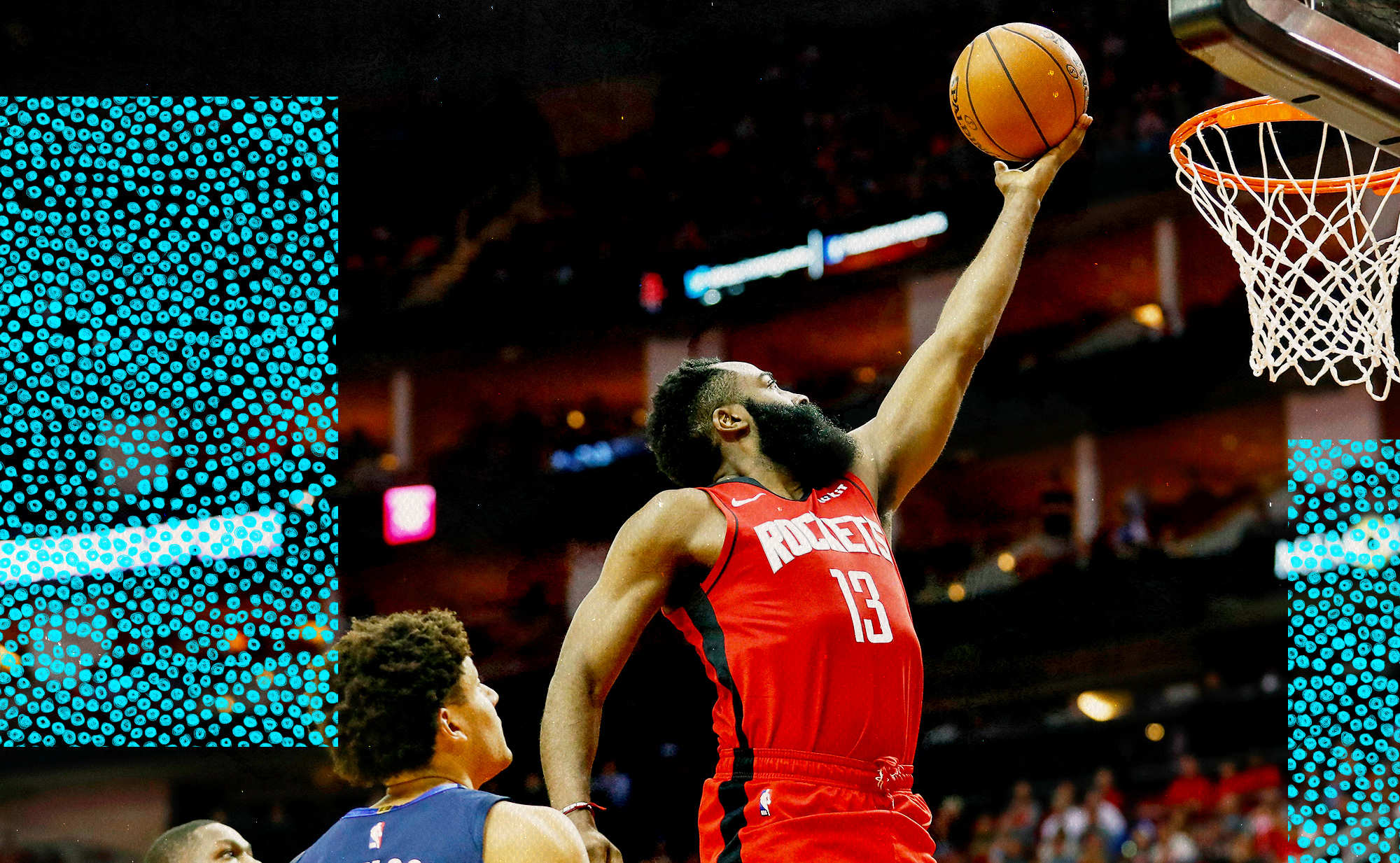 James Harden takes a layup for the Rockets.