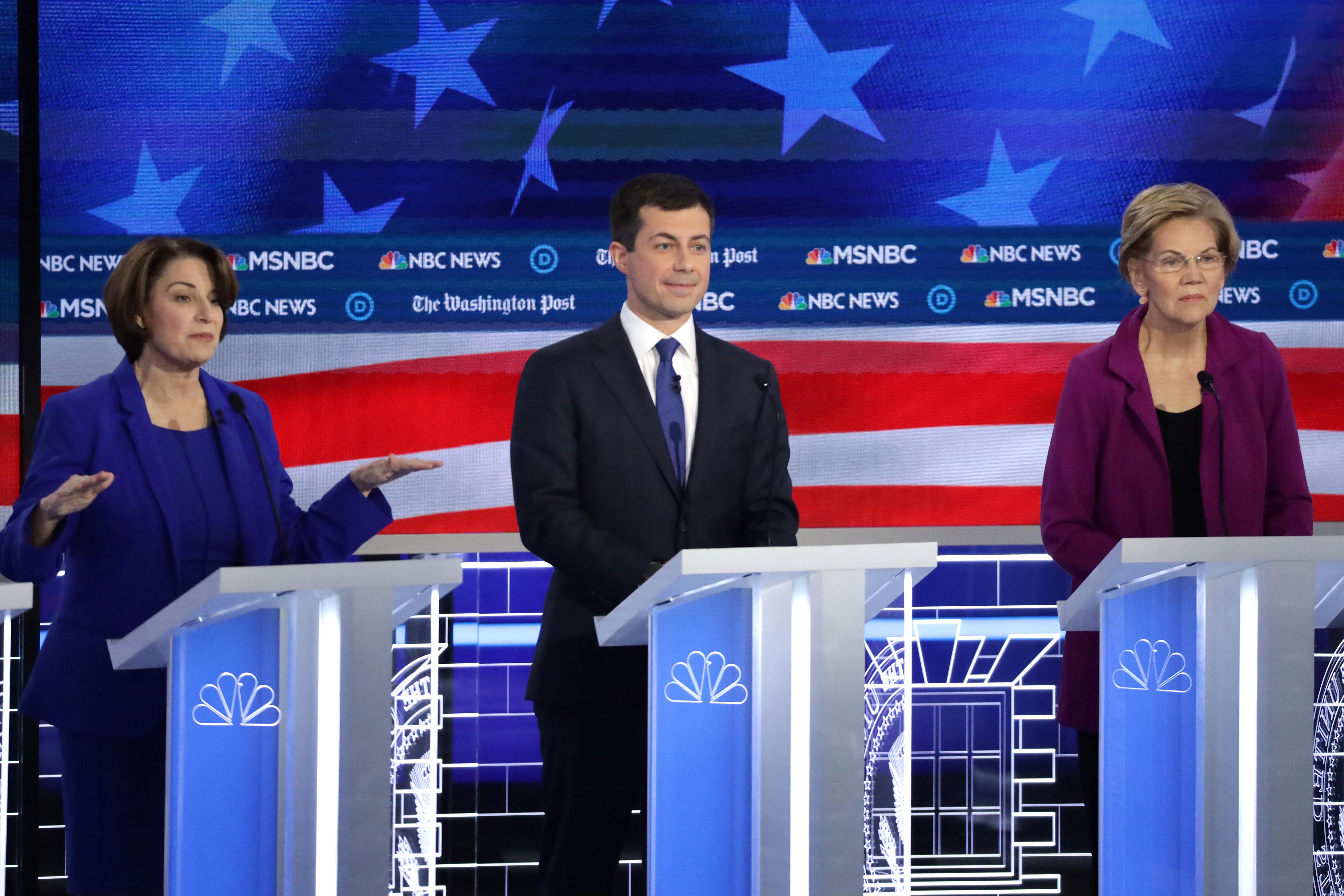 Democratic presidential candidates Sen. Amy Klobuchar, D-Minn., South Bend Mayor Pete Buttigieg and Sen. Elizabeth Warren, D-MA, participate in the Democratic Presidential Debate on Nov. 20, 2019 in Atlanta, Georgia.