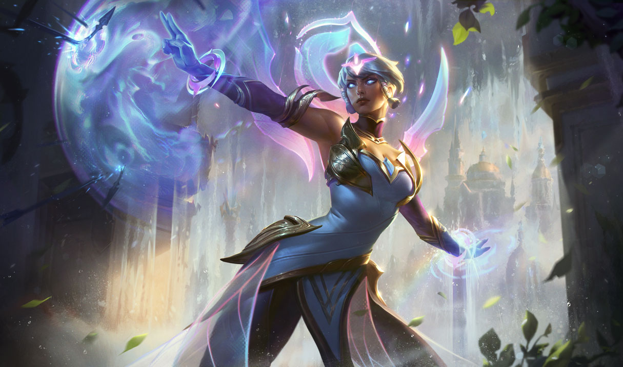 Dawnbringer Karma creates a blue barrier, protecting her from incoming projectiles