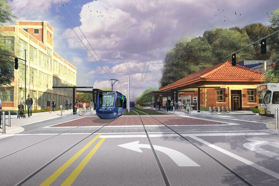 A rendering showing a light rail train alongside the Atlanta Beltline trail and an old building.