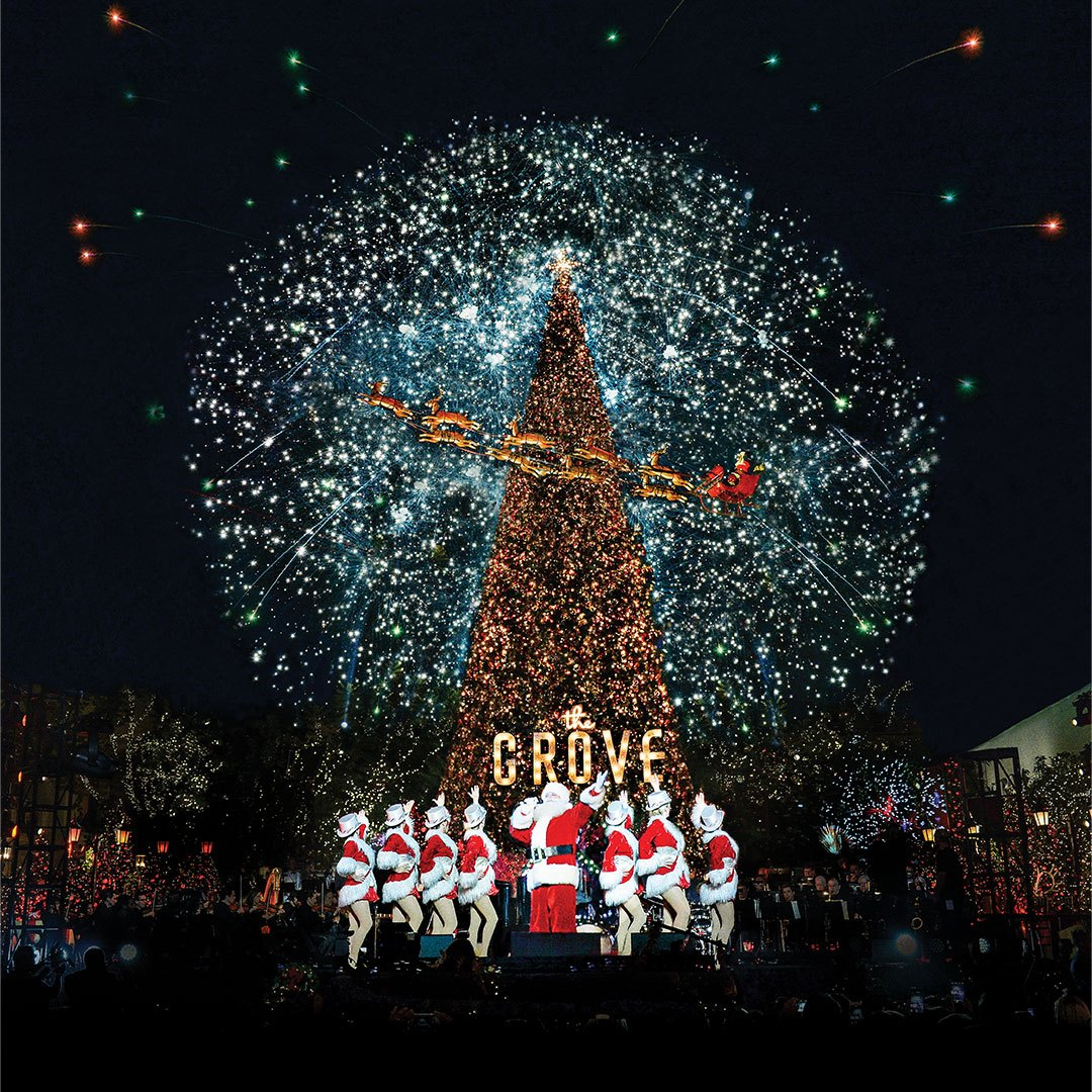 Christmas tree lighting at the Grove in Los Angeles.
