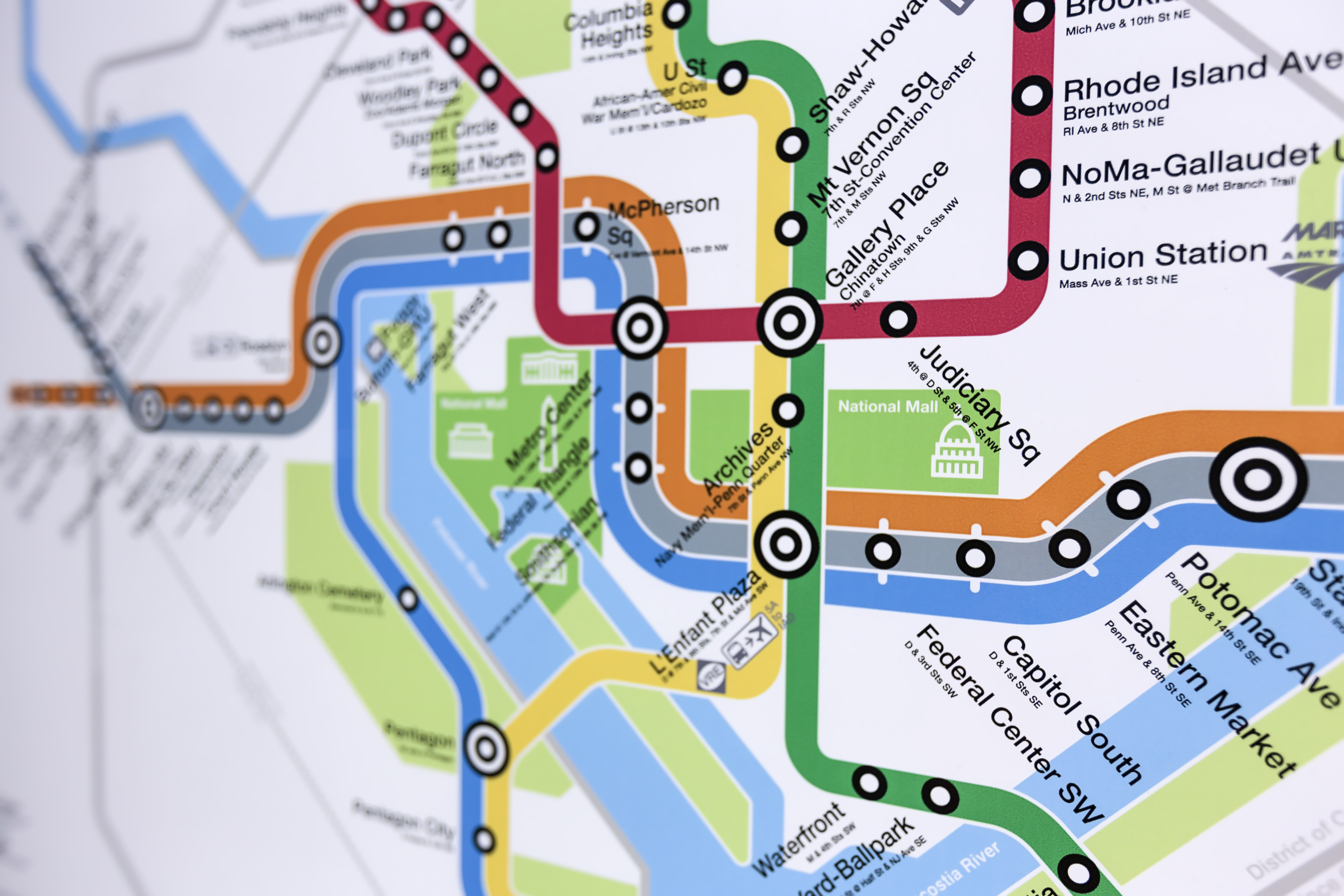 A map showing six different lines in a subway system. Each of the lines is a different color: Red, Blue, Orange, Yellow, Silver, and Green.