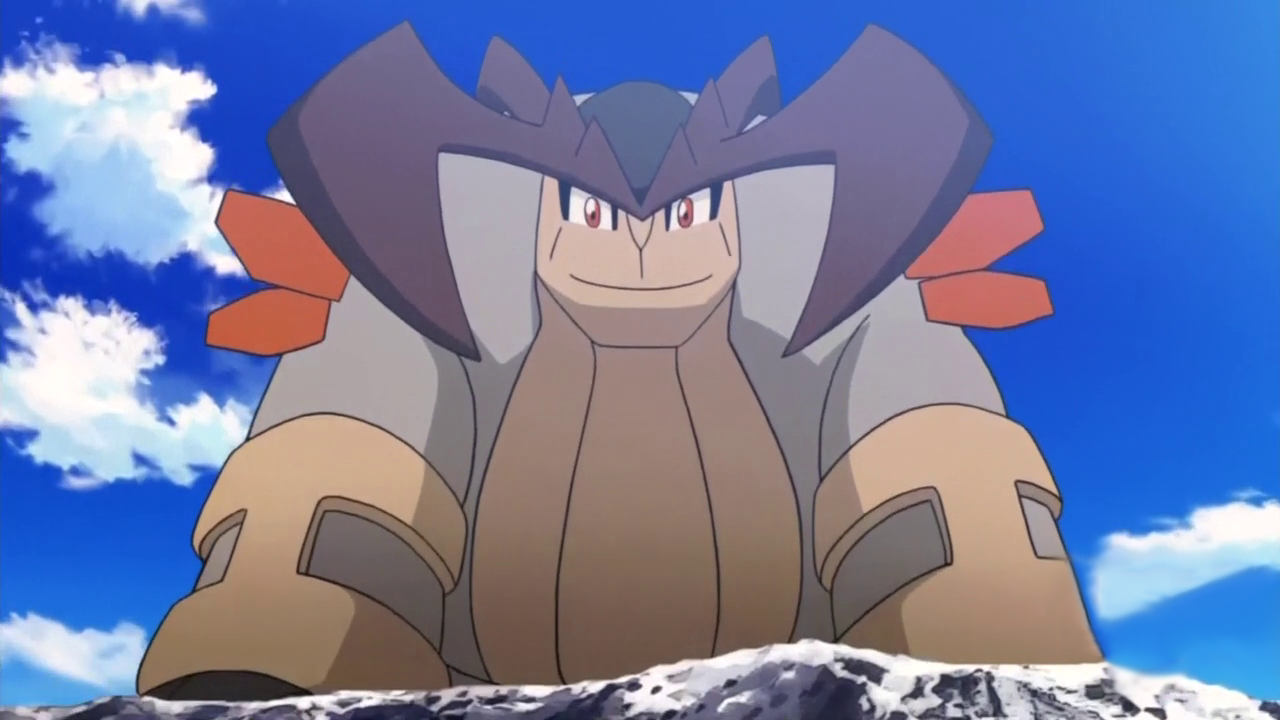 Terrakion looks down happily from a mountain