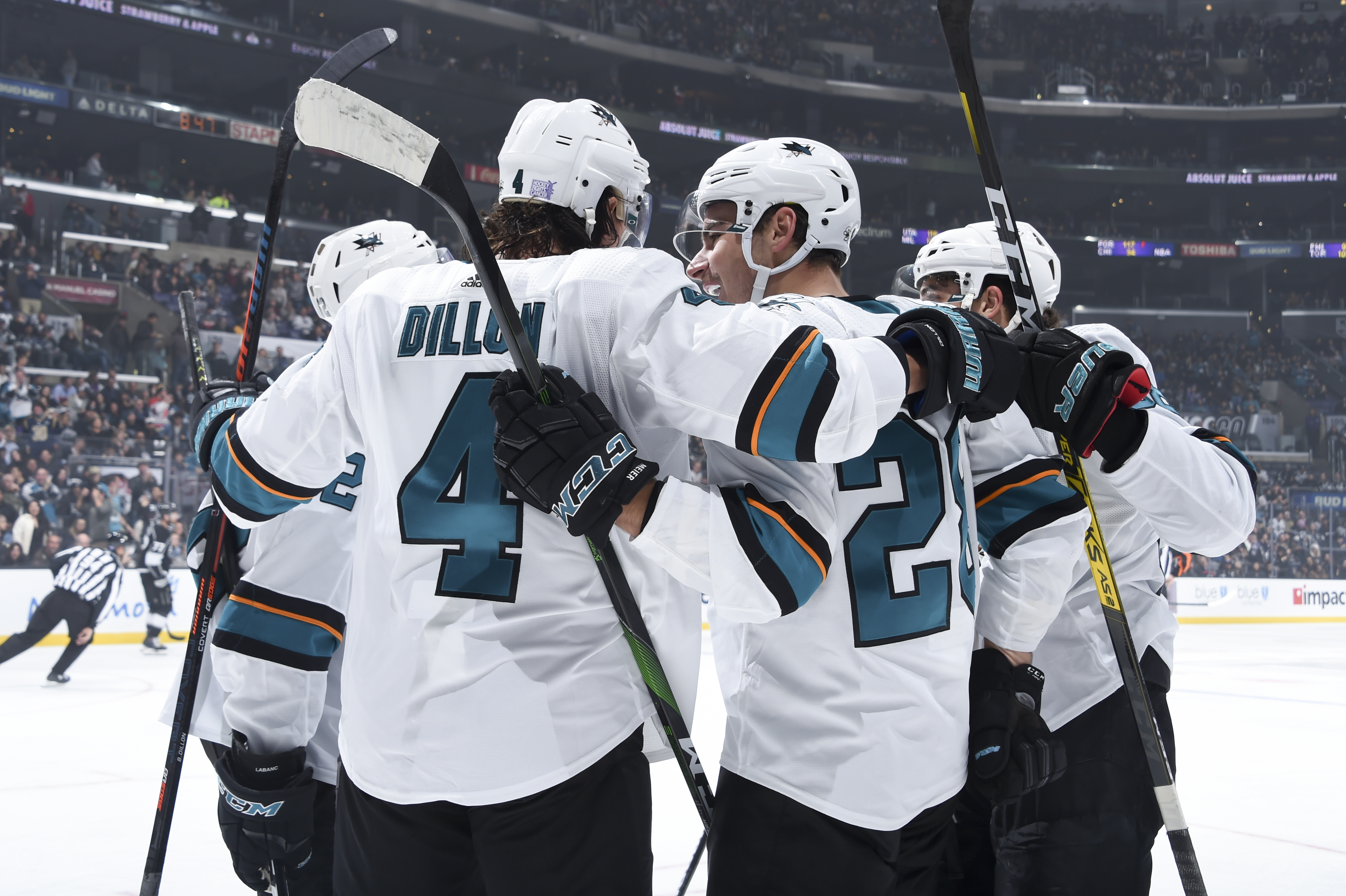 Timo Meier #28 of the San Jose Sharks celebrates his goal with teammates during the second period against the Los Angeles Kings at STAPLES Center on November 25, 2019 in Los Angeles, California.