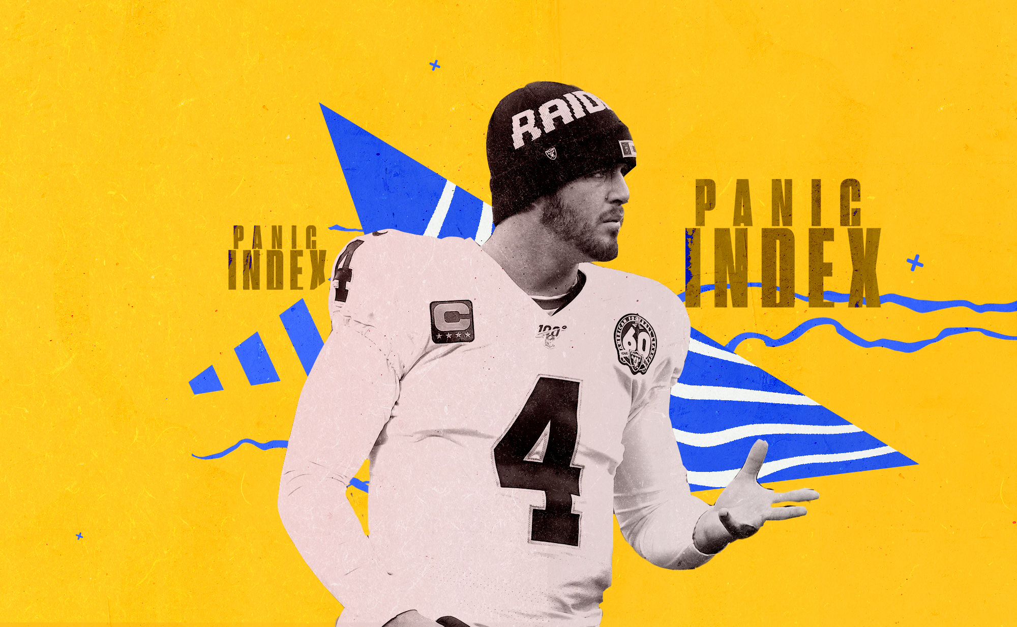 QB Derek Carr, wearing a Raiders beanie, holds his right hand open, superimposed on a yellow, white and blue background with the words PANIC INDEX