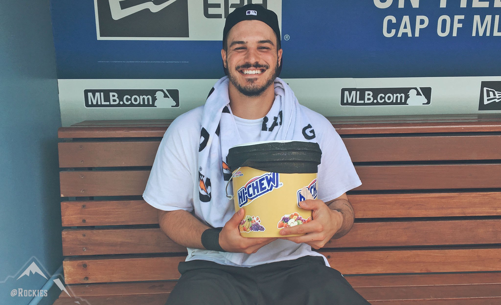 Nolan Arenado and a bucket of hi-chew