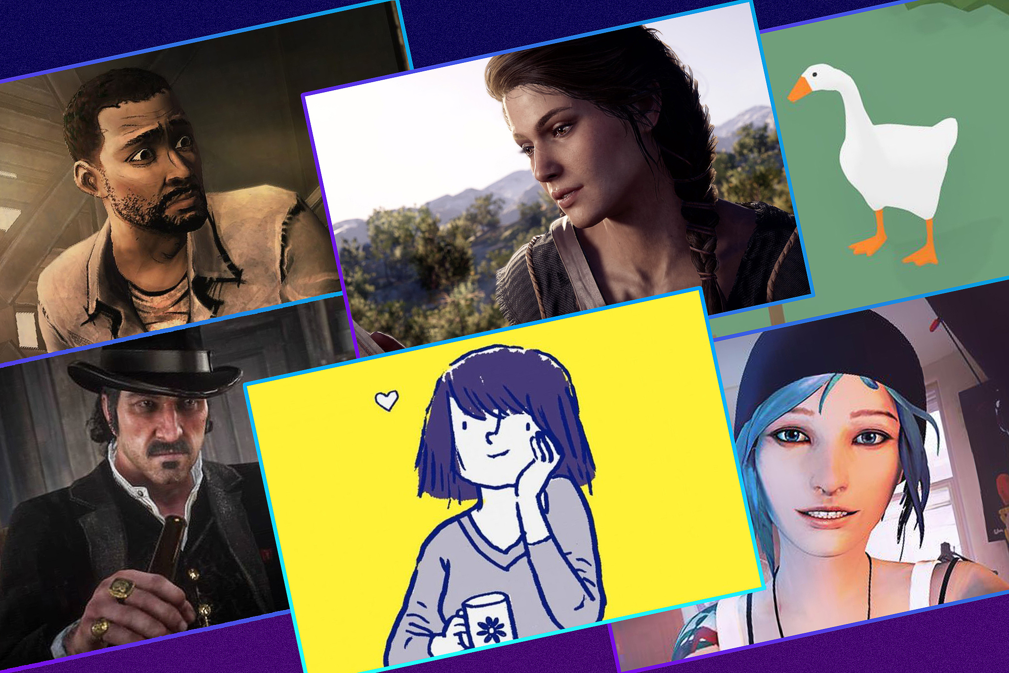 Graphic featuring six different video game characters from the last decade (2010-2020)