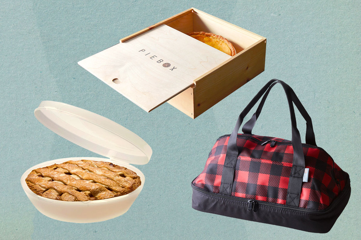 A collage of a pie box, pie keeper, and an insulated tote bag