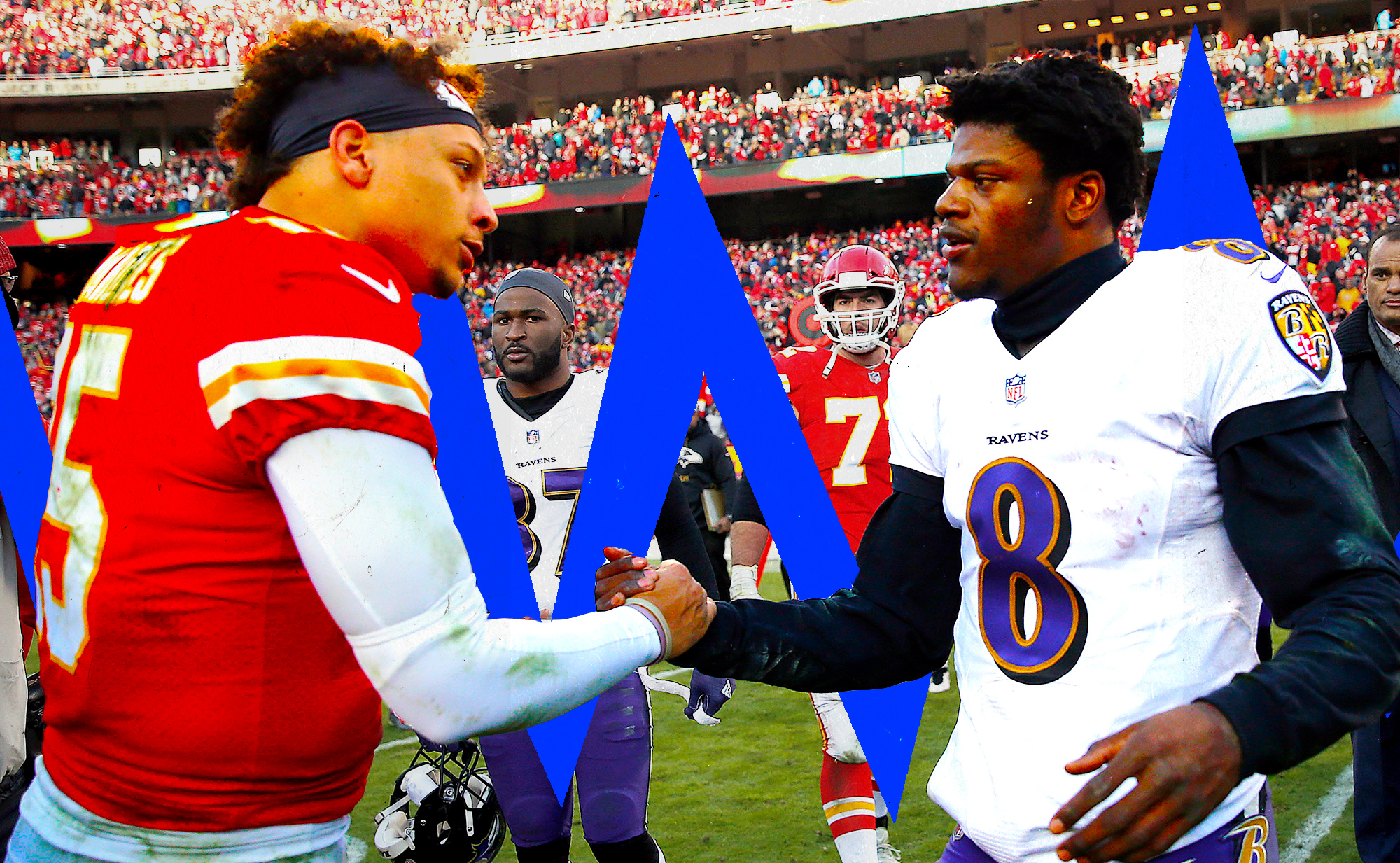 QBs Patrick Mahomes and Lamar Jackson shake hands after a Chiefs-Ravens game