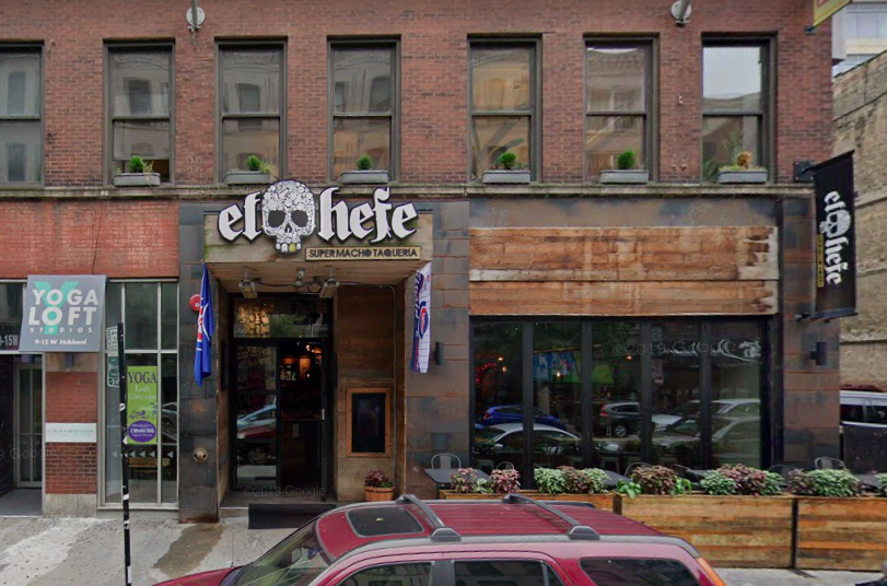 The exterior of a bar on Hubbard Street in River North.