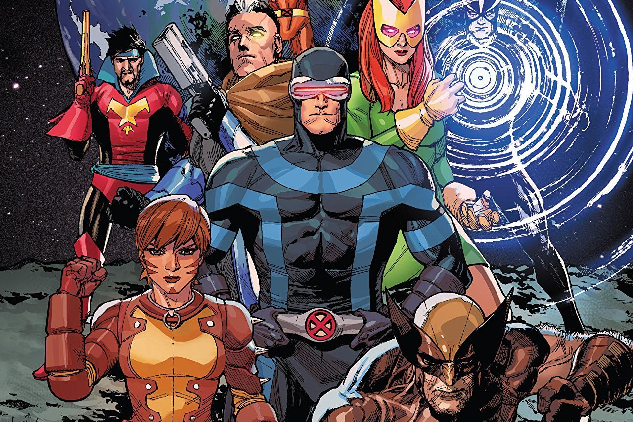 Cyclops, Jean Grey, Wolverine, Rachel Summers, Cable, Havok, and Corsair on the cover of X-Men #1, Marvel Comics (2019).