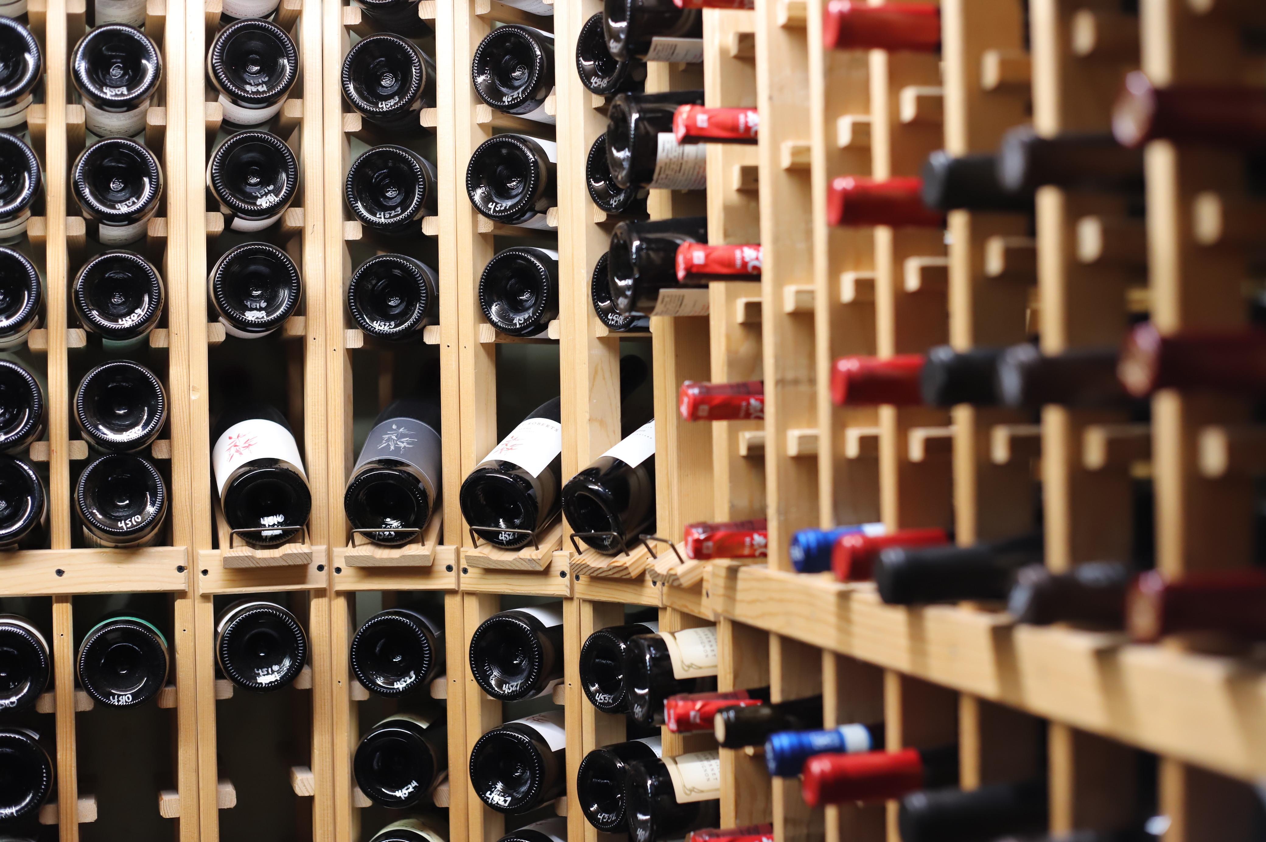 Wine bottles in a cellar.