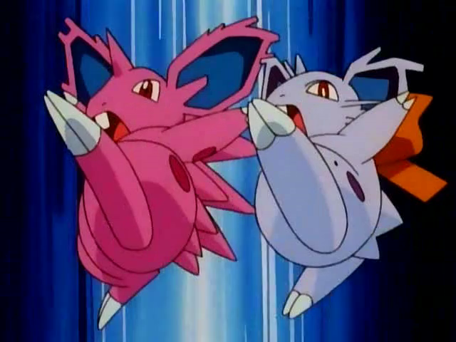 Both forms of Nidorans do a Double Kick attack together