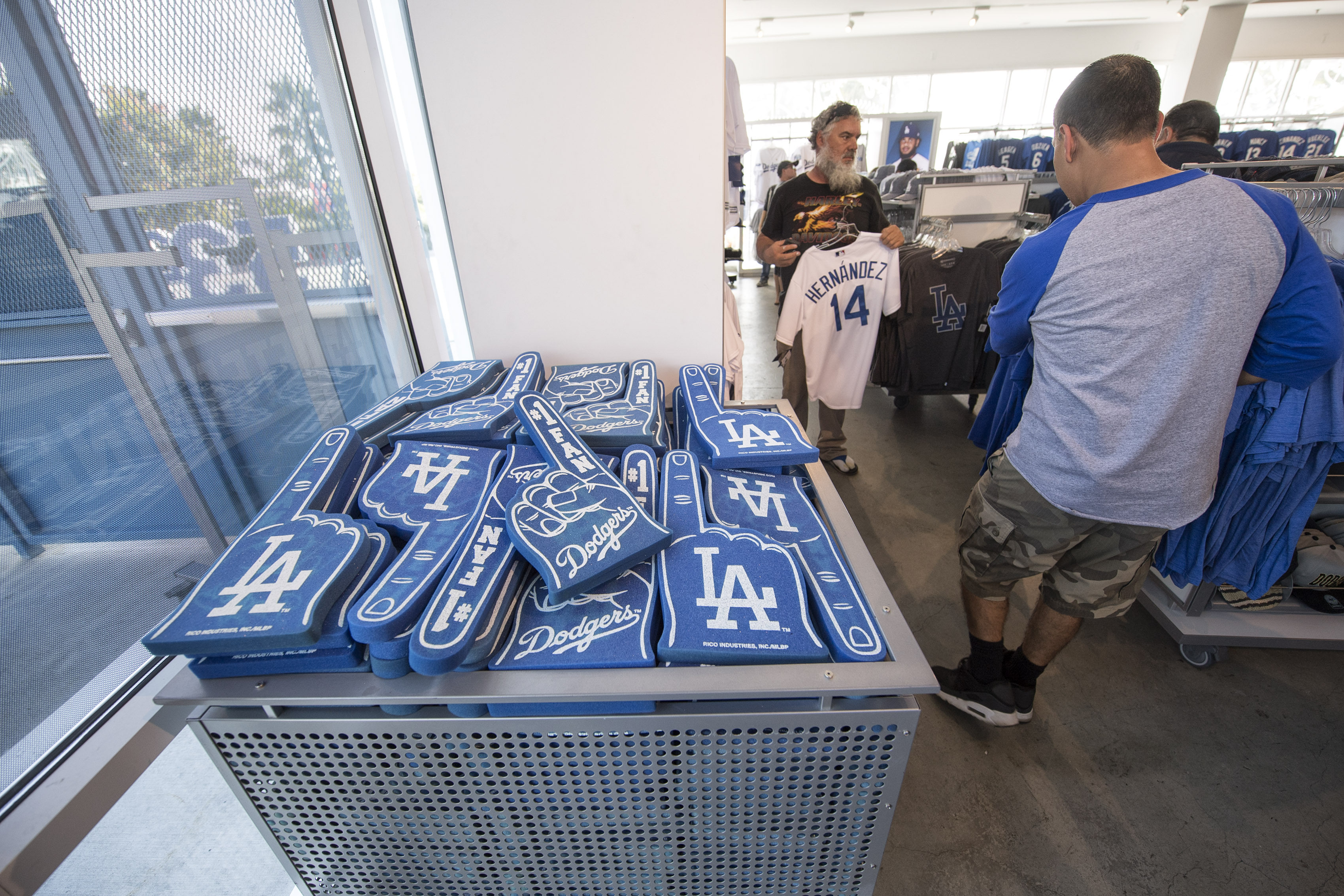 People shop for Los Angeles Dodgers merchandise
