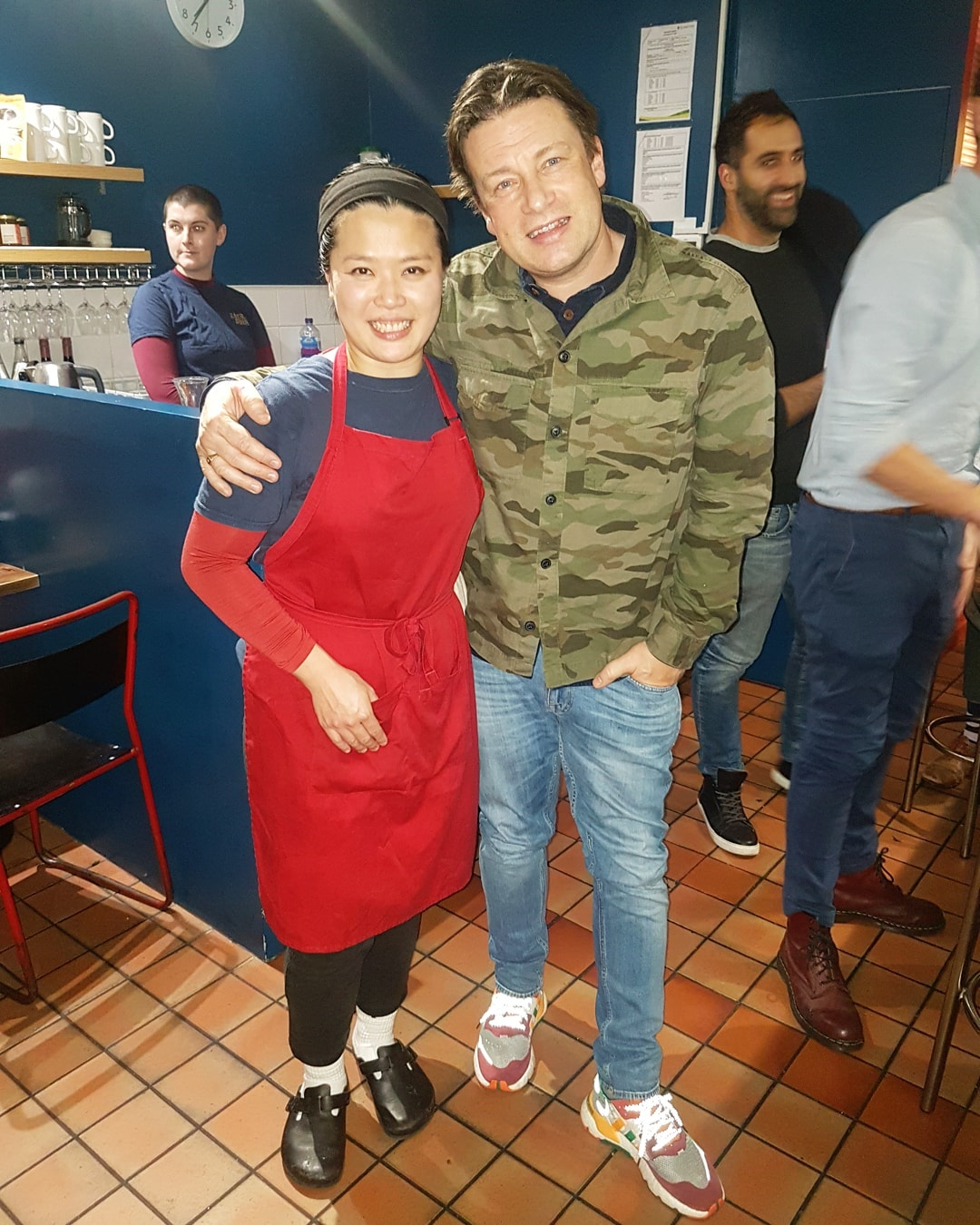 Mandy Yin of Sambal Shiok and Jamie Oliver, together at the restaurant on Holloway Road in Islington