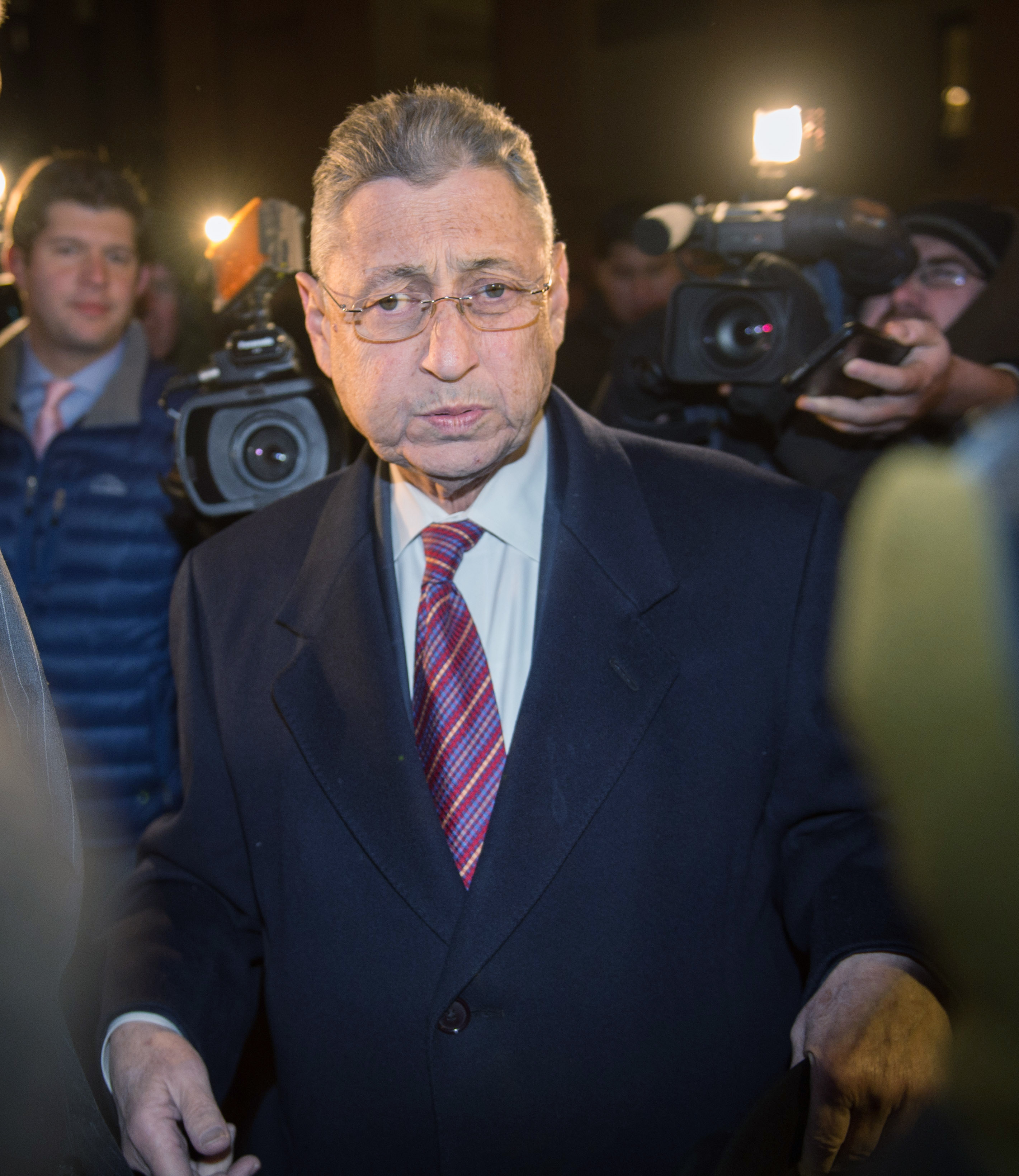 Former New York Assembly Speaker Sheldon Silver exits Manhattan federal court following his conviction on corruption charges in November 2015, in New York.